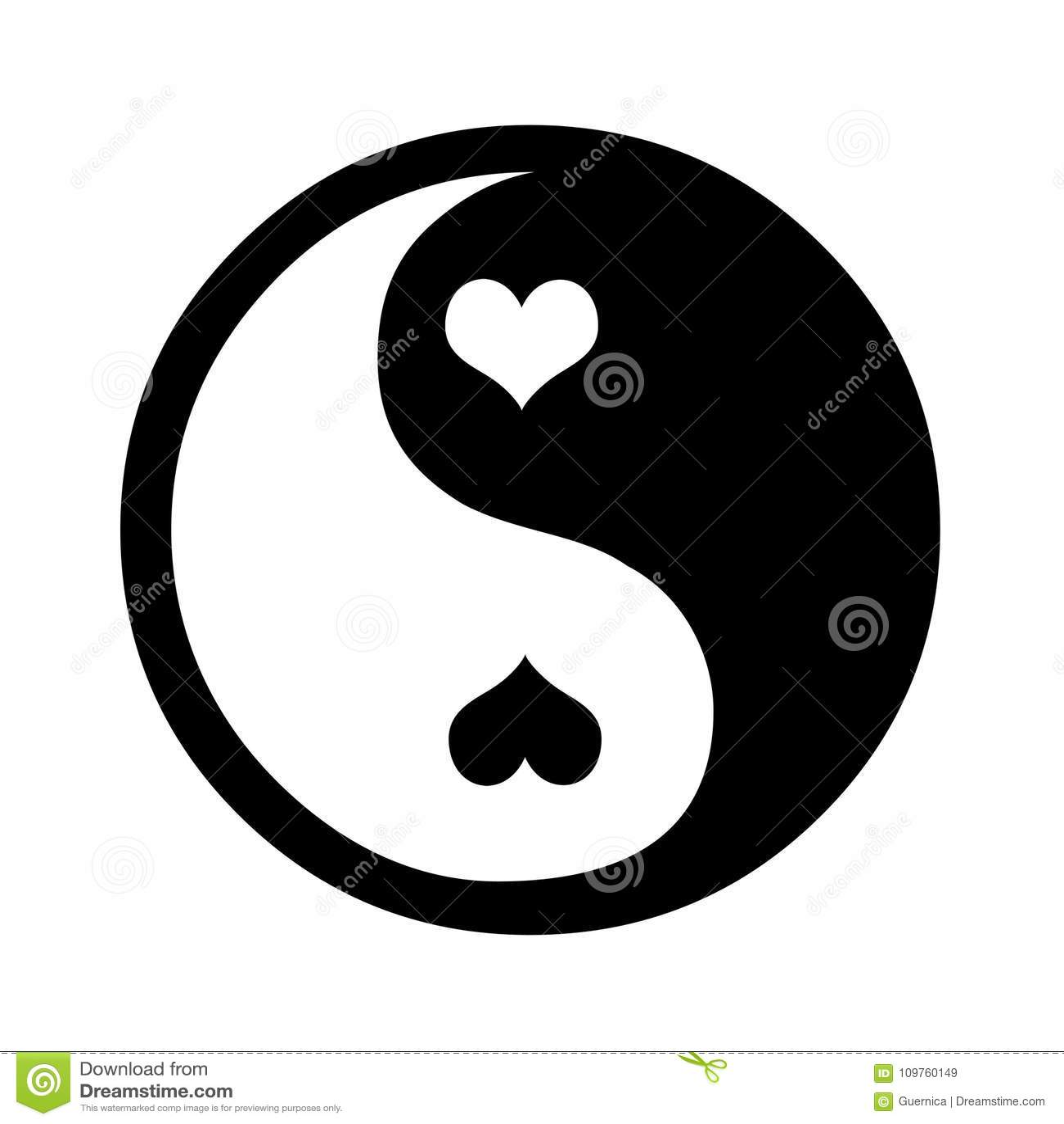Ying Yang Hearts Illustration Contrast Stock Illustration