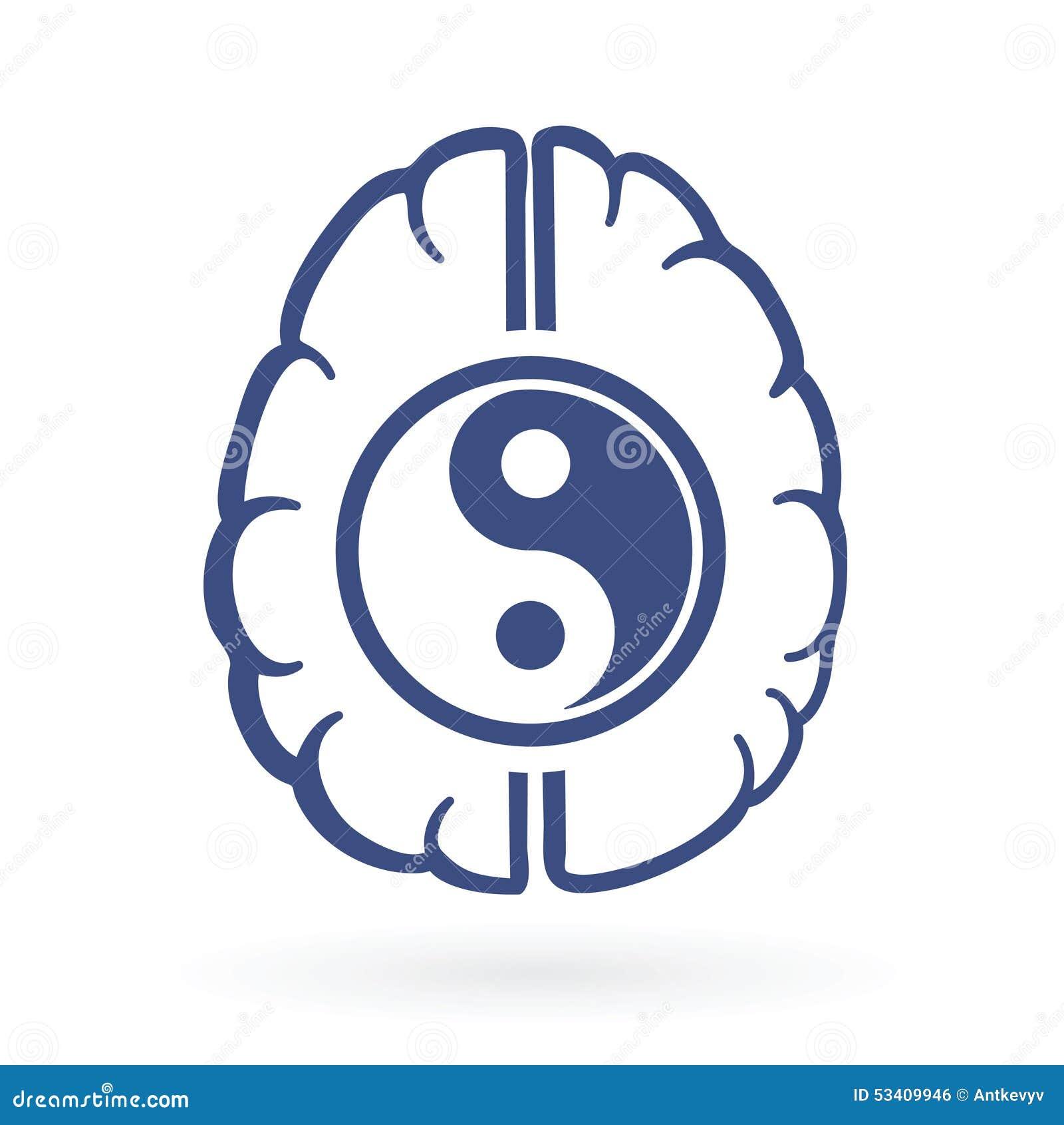 Ying Yang And Human Brain Symbols Stock Vector Image