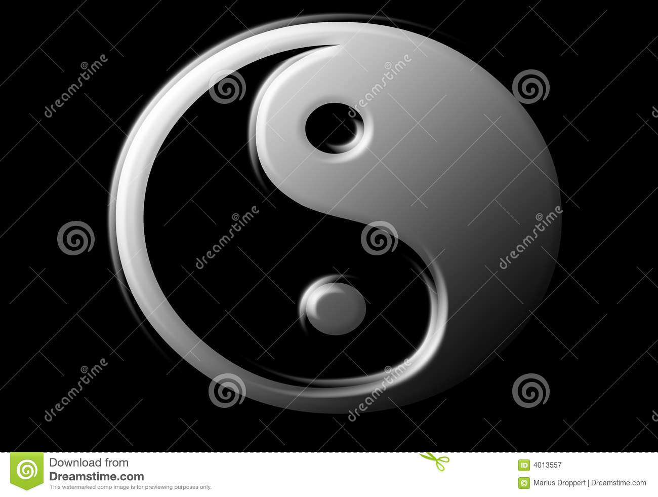 Ying Yang sign with metallook