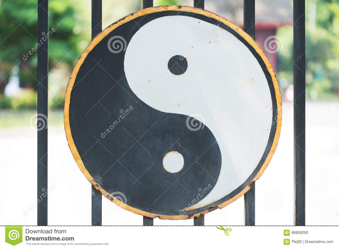 Ying And Yang Symbol Hang On The Gate Of A Taoist Temple In Chin