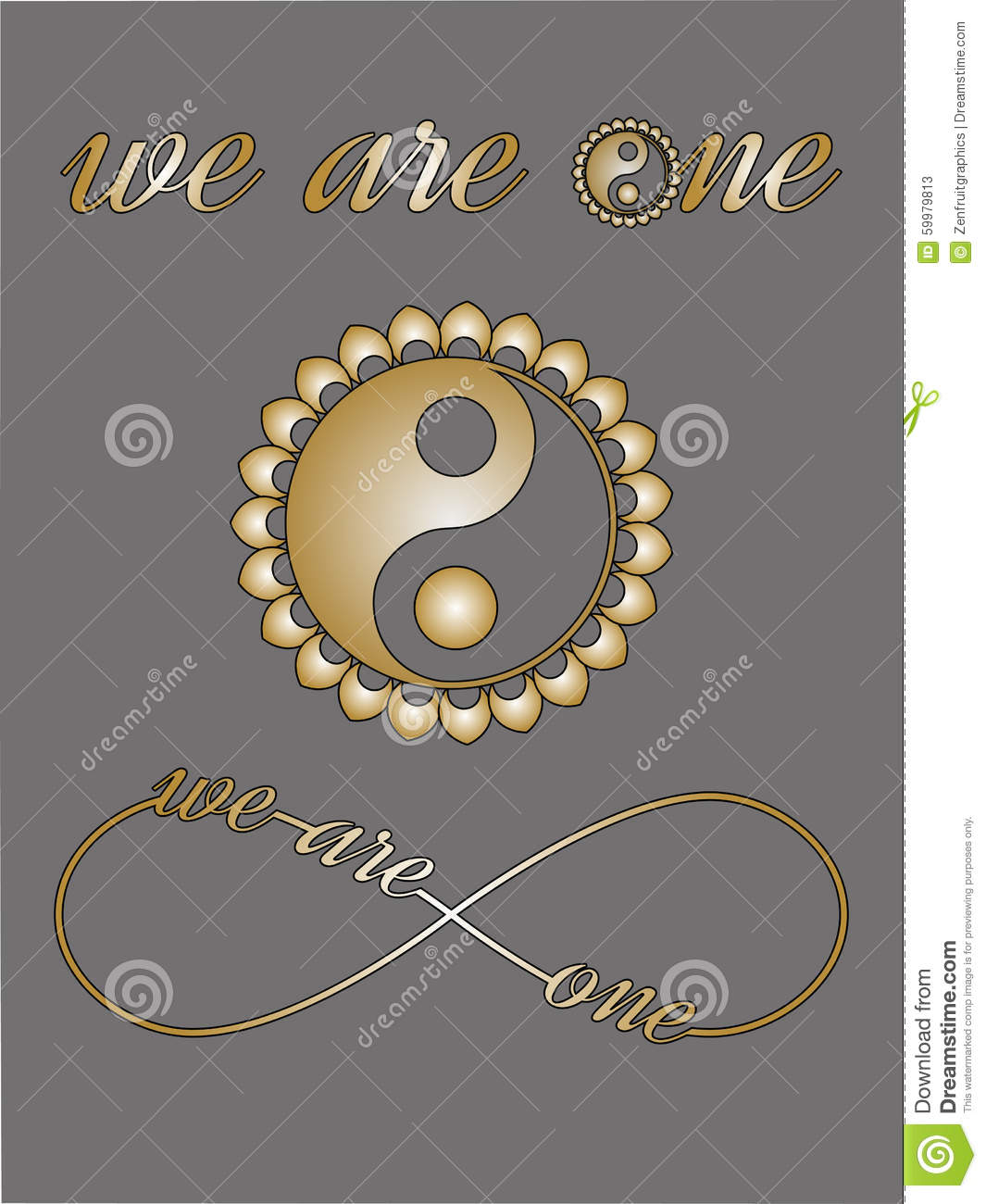 Ying Yang Symbol Infinity Sign With Love Text We Are One I Love