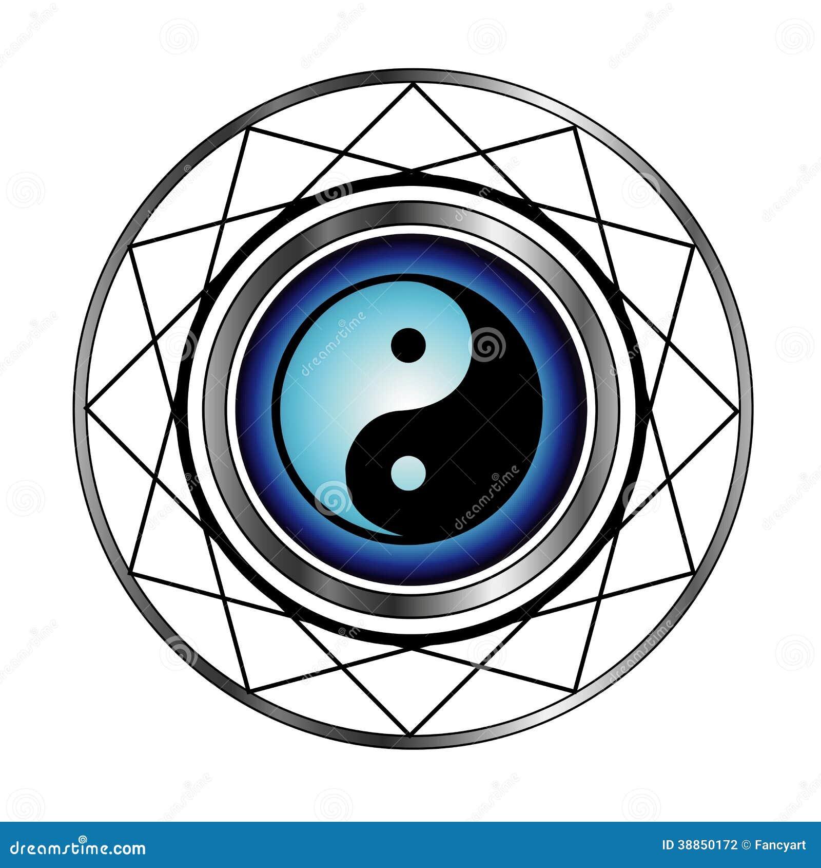 Ying Yang symbol med blåttglöd