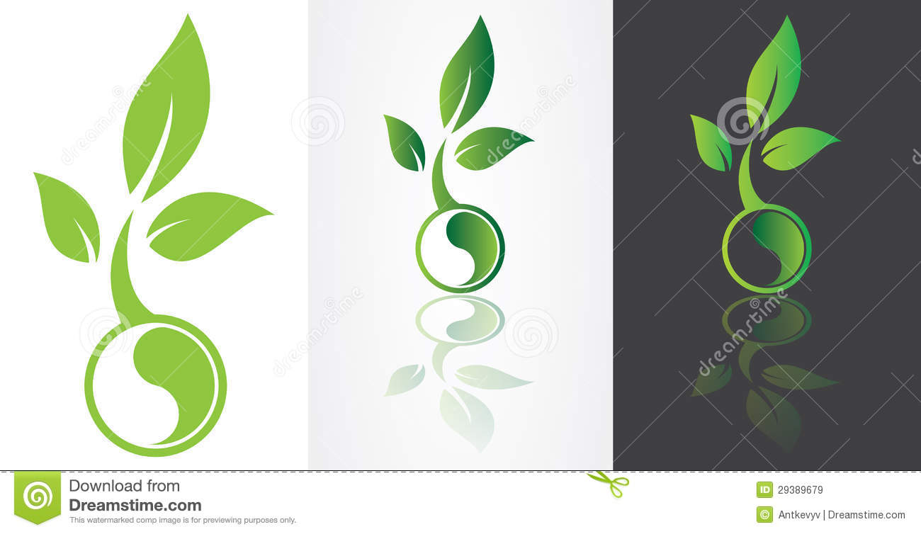 ying yang symbolism with green leaf stock vector image Ying Yang Vector Art Military Vector Ying Yang