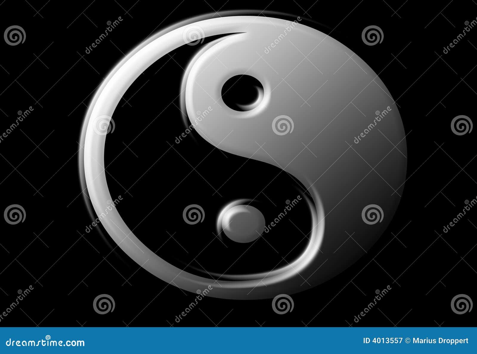 Ying Yang Zeichen mit metallook