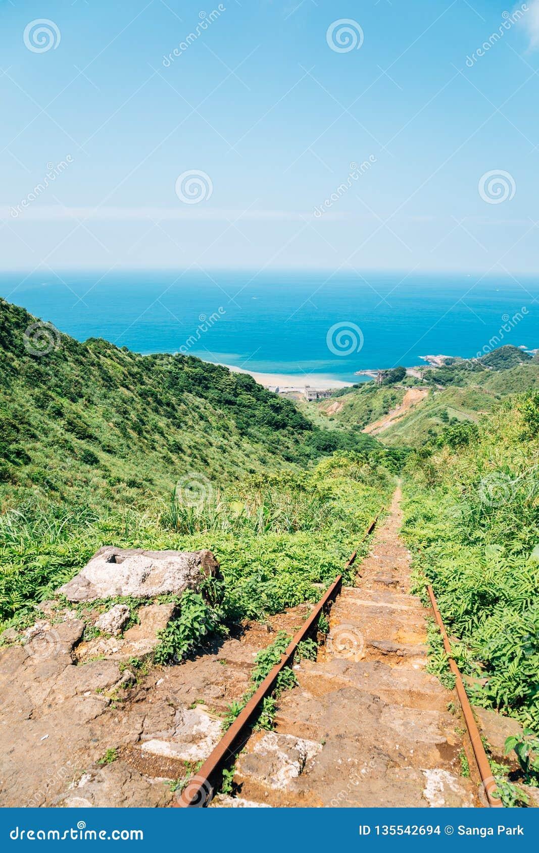 Yinyanghai sea and railroad in Jinguashi, Taiwan