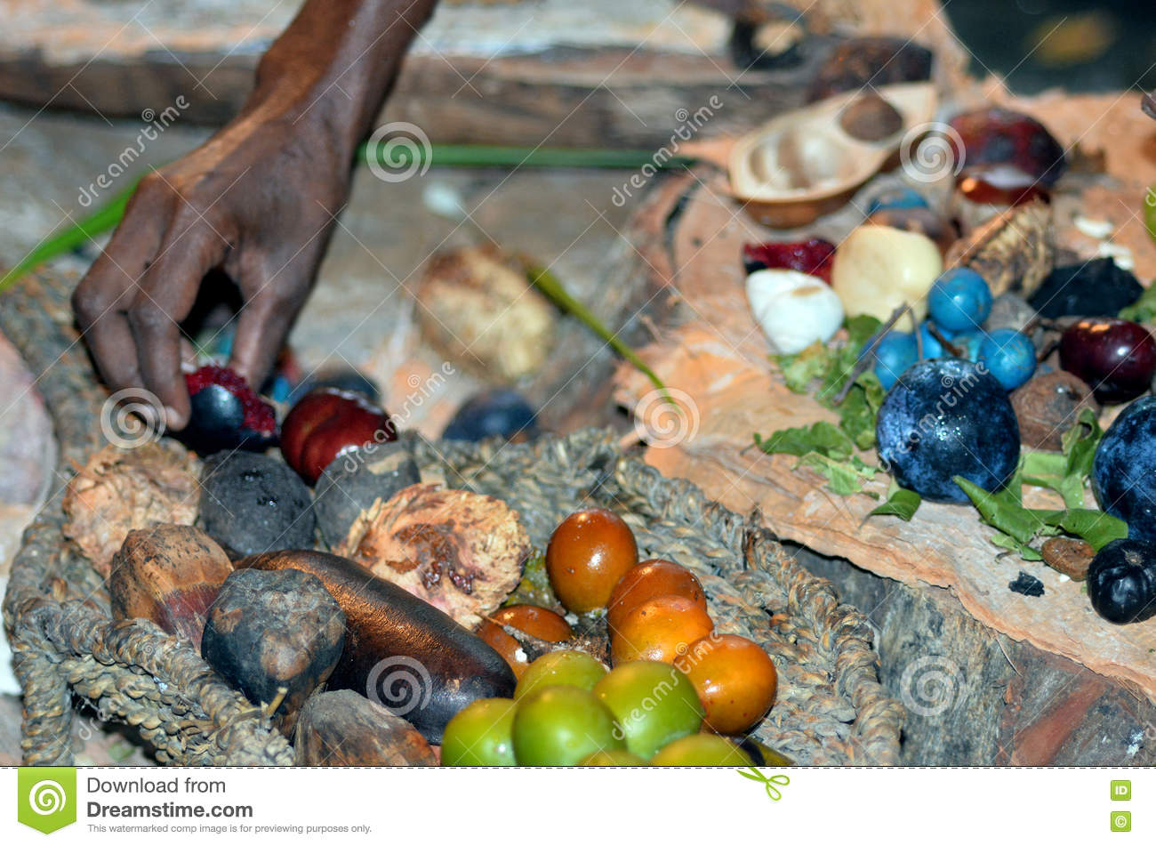 Yirrganydji aboriginal woman hand assorting fruit and for Aboriginal cuisine