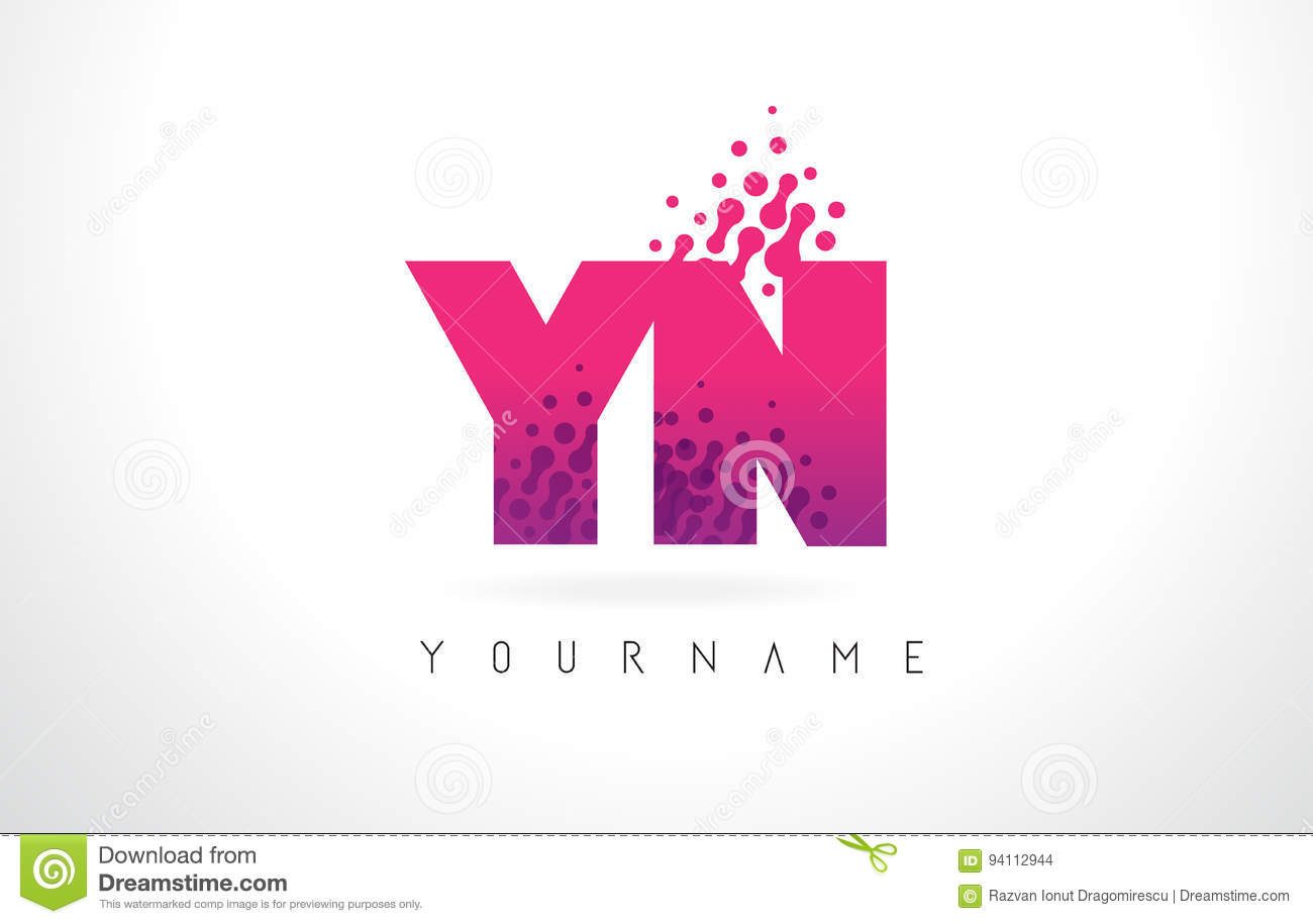 YN Y N Letter Logo With Pink Purple Color And Particles Dots Des ...
