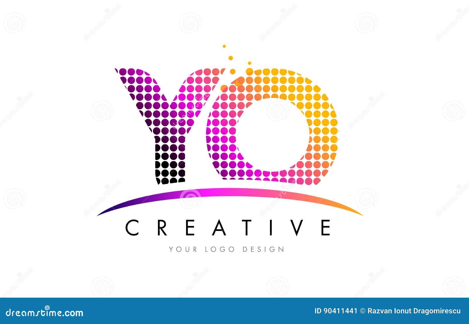 Yo y o letter logo design with magenta dots and swoosh stock yo y o letter logo design with magenta dots and swoosh buycottarizona Images