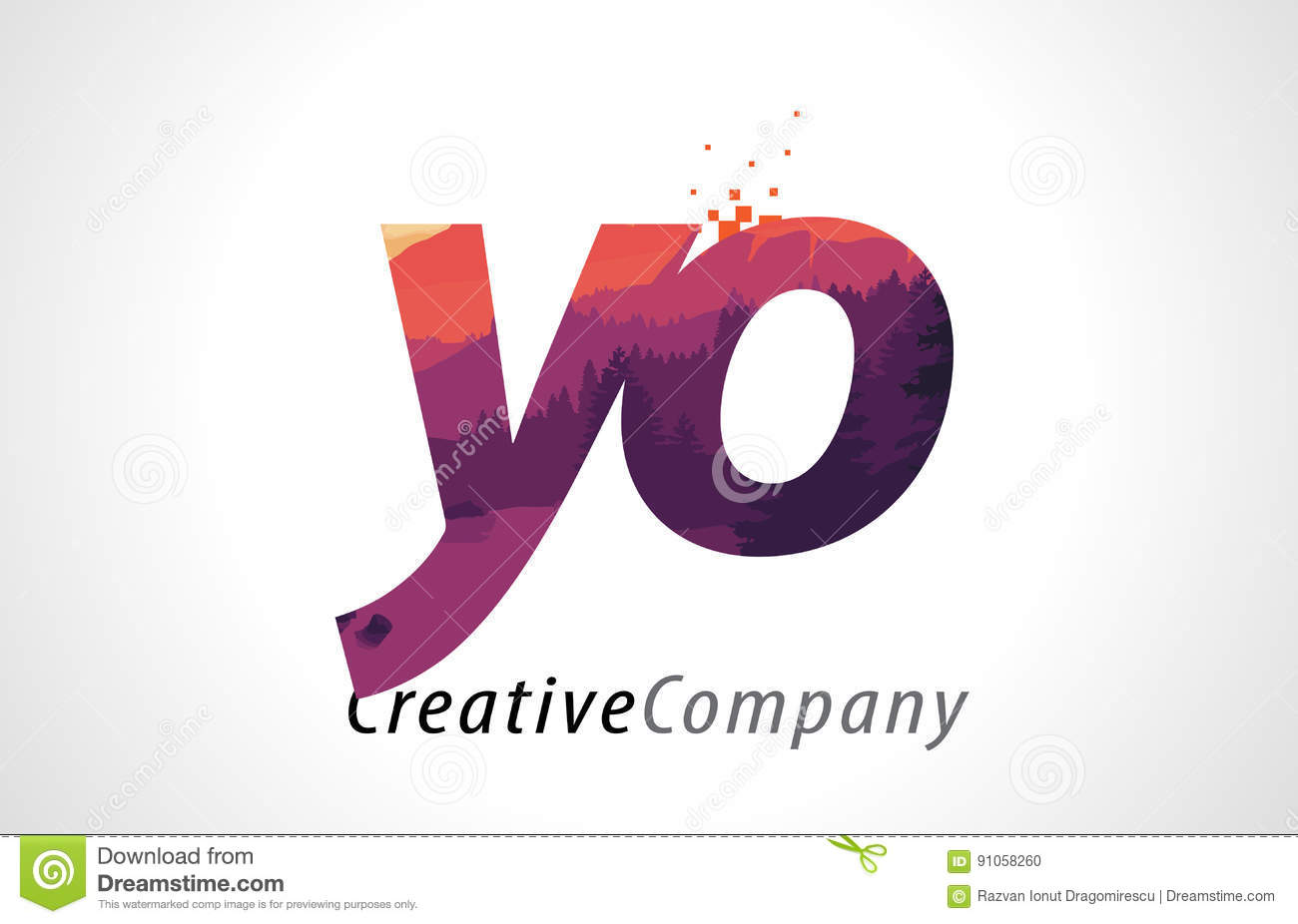 Yo y o letter logo design with purple forest texture flat vector yo y o letter logo design with purple forest texture flat vector buycottarizona Images