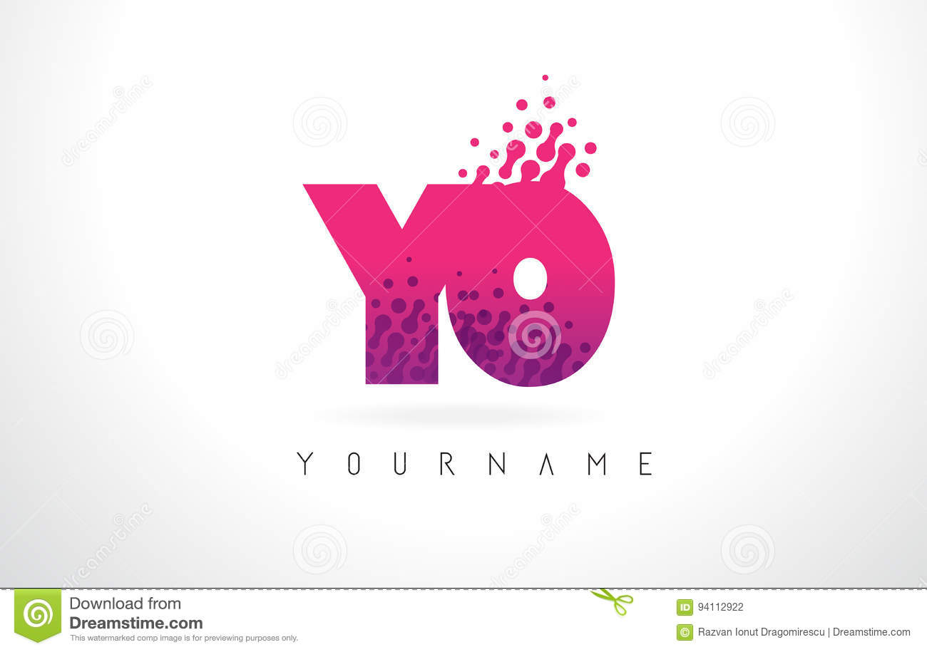 YO Y O Letter Logo With Pink Purple Color And Particles Dots Des ...