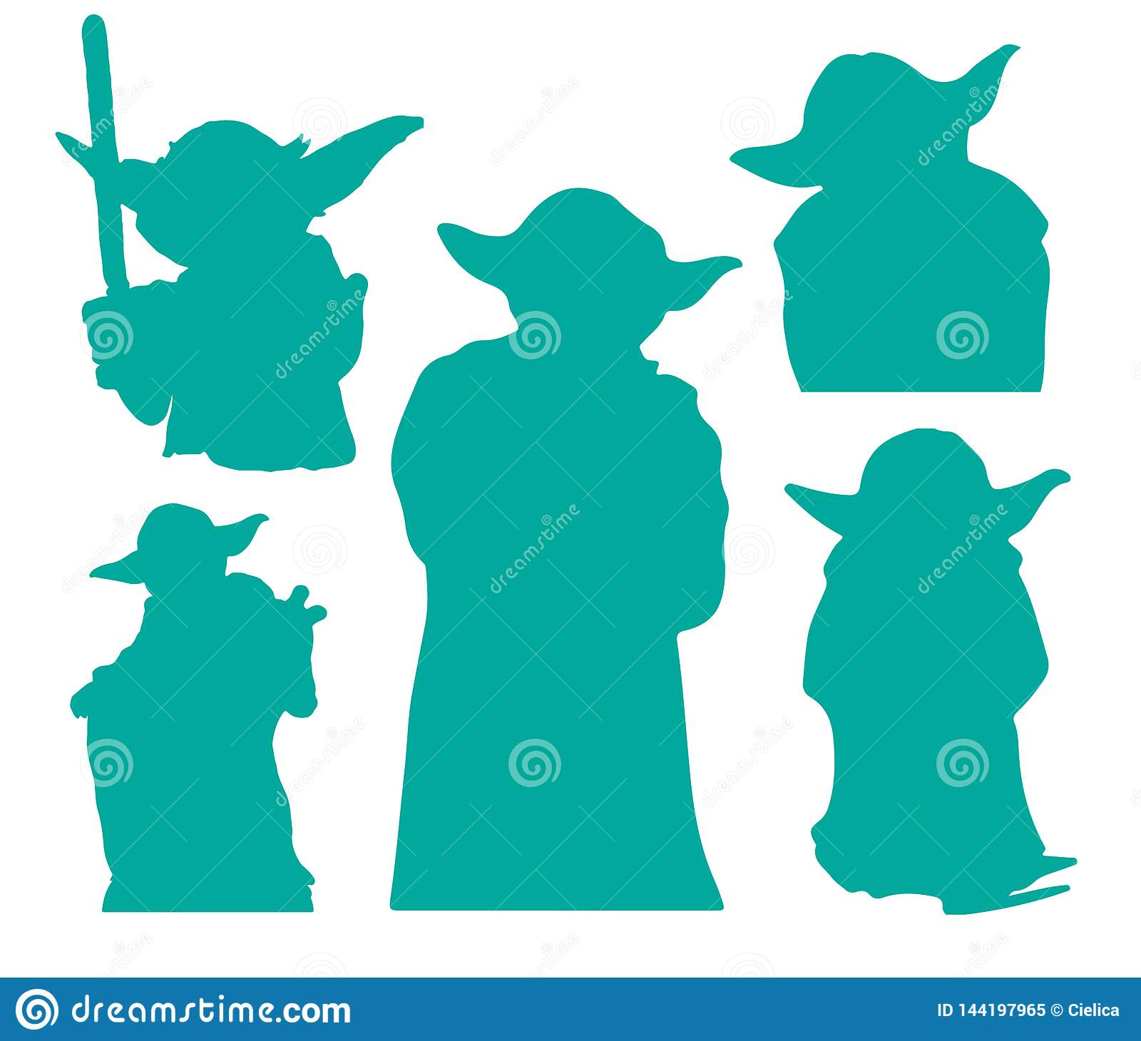 Yoda Star Wars Silhouettes EPS Vector Clipart Cutting Files