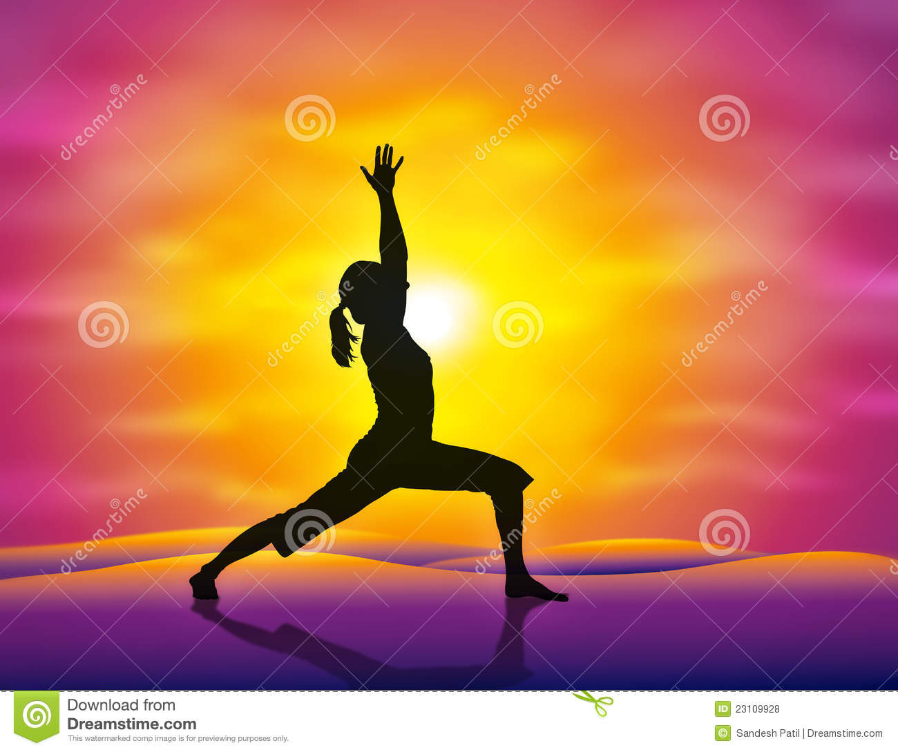 girl practicing yoga in the sunset. Vector illustration.