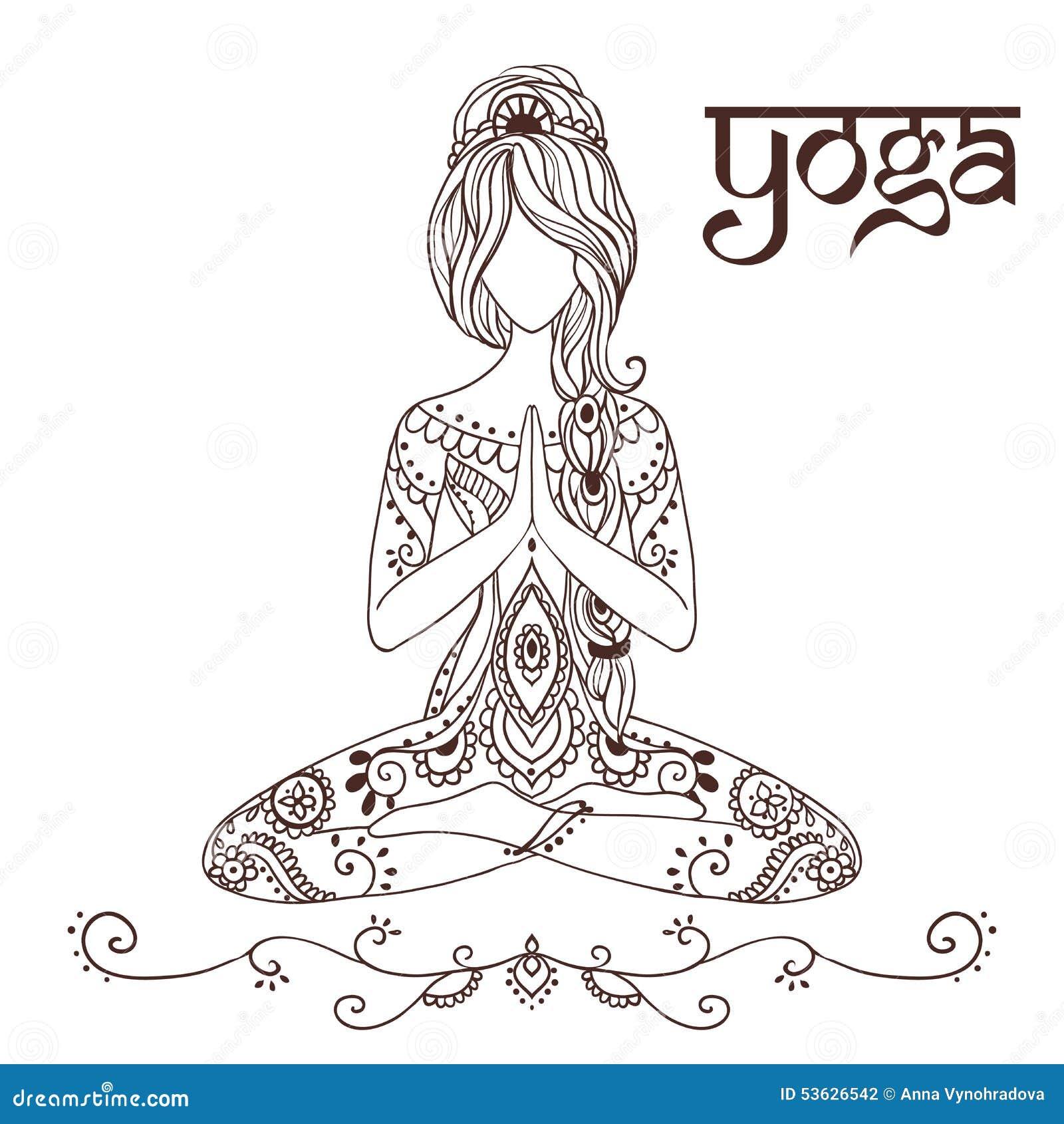 Yoga 2 Ilustracion Del Vector Ilustracion De Loto Floral 53626542