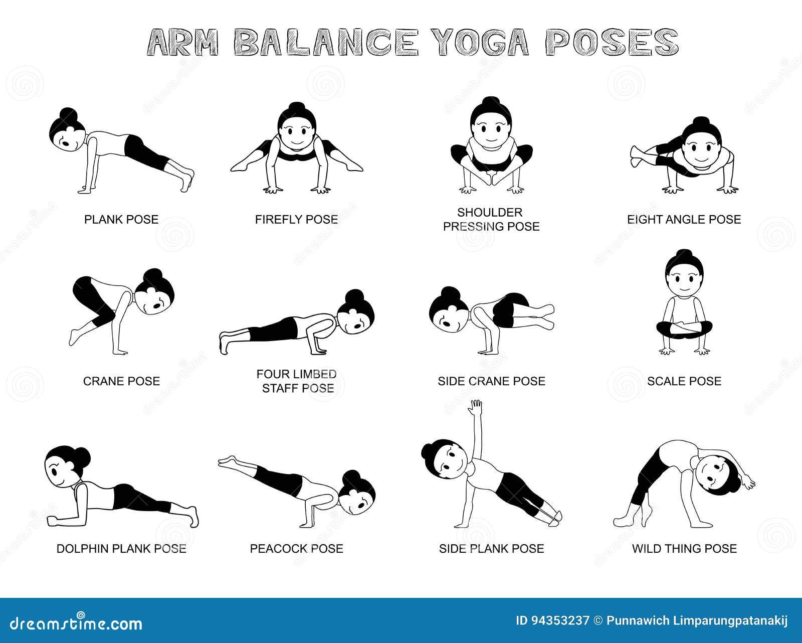Yoga Arm Balance Wirft Vektor Illustrations Monochrom Auf Vektor ...