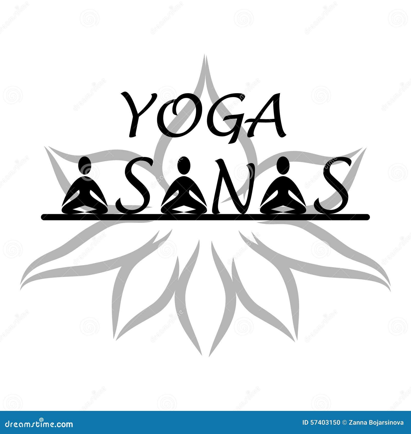 yoga asanas logo stock vector image 57403150