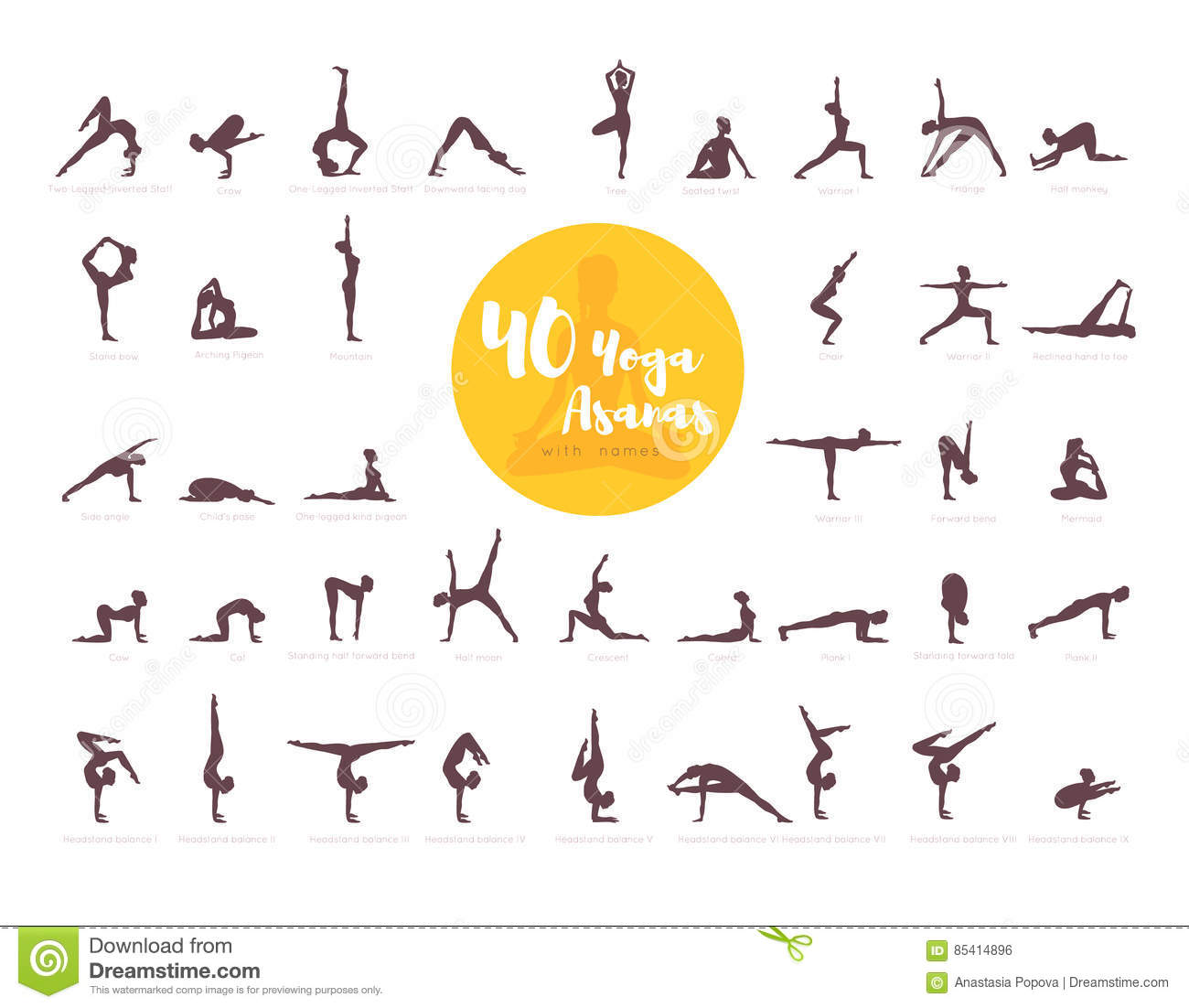 Download 40 Yoga Asanas With Names Stock Vector Illustration Of Foot