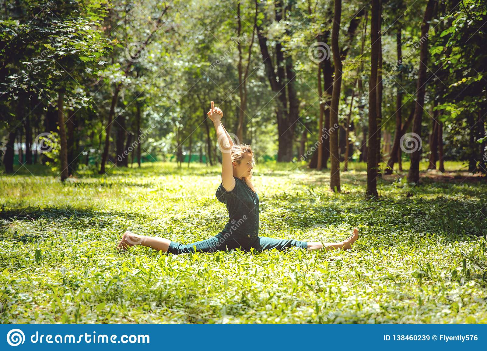 Hanumanasana. Yoga Asanas In Nature. Yoga Poses Everyday