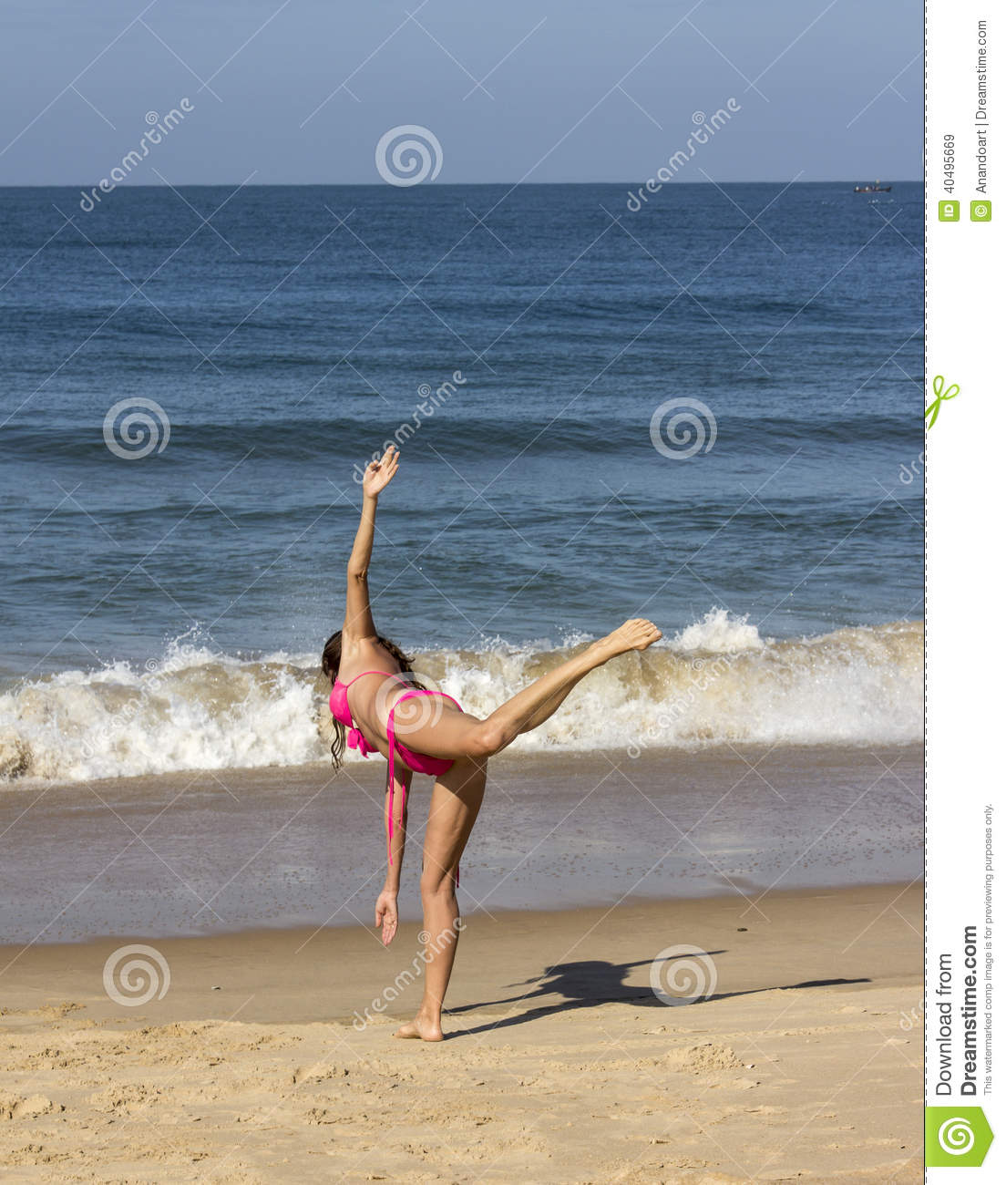 Woman With Beautiful Body In Bikini At Beach Stock Image: Yoga At The Beach Of Goa Stock Image. Image Of Performing
