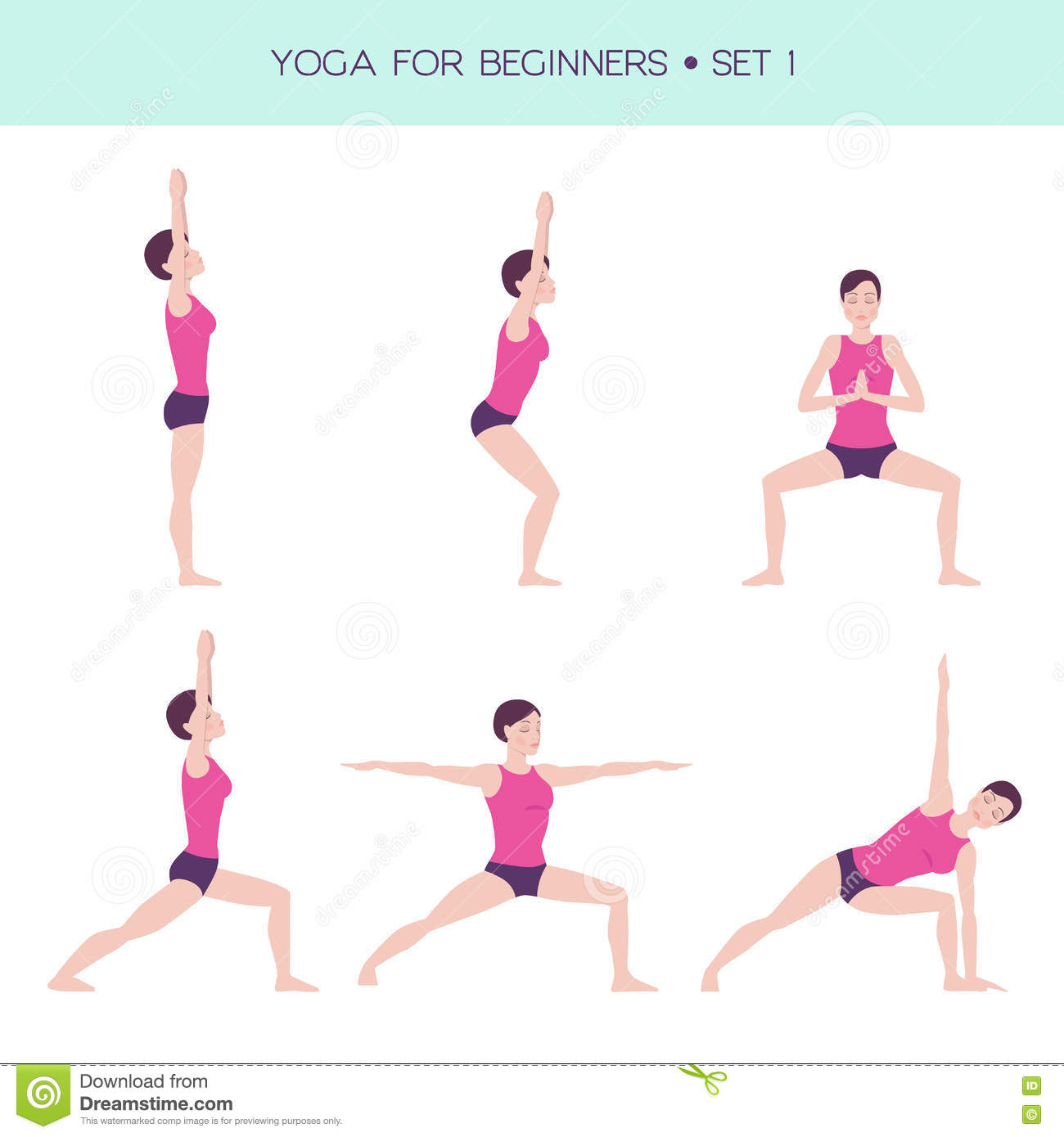 Yoga For Beginners Basic Set Stock Vector Illustration Of Health Stretching 74228440
