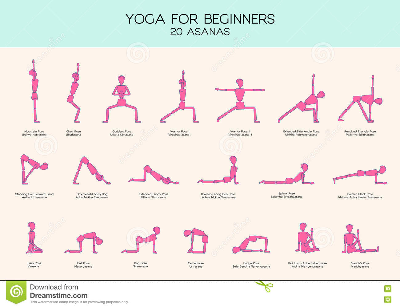 Souvent Yoga For Beginners Poses Stick Figure Set Stock Vector - Image  MO85