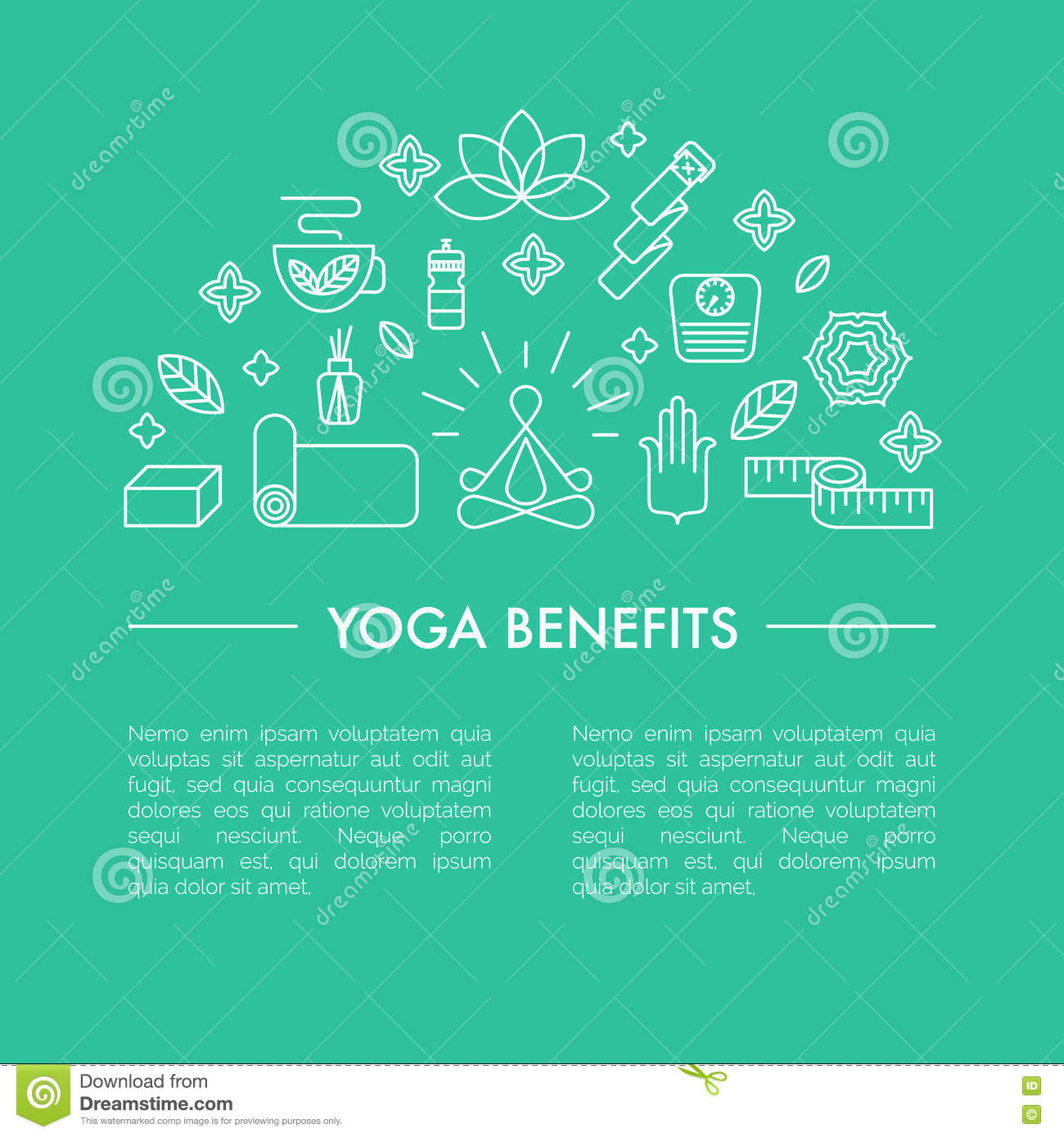 Yoga Benefits Poster Or Iluustration For An Article Stock