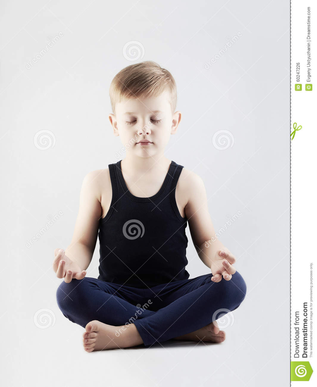 Yoga boy.child in the lotus position.children meditation and relaxation