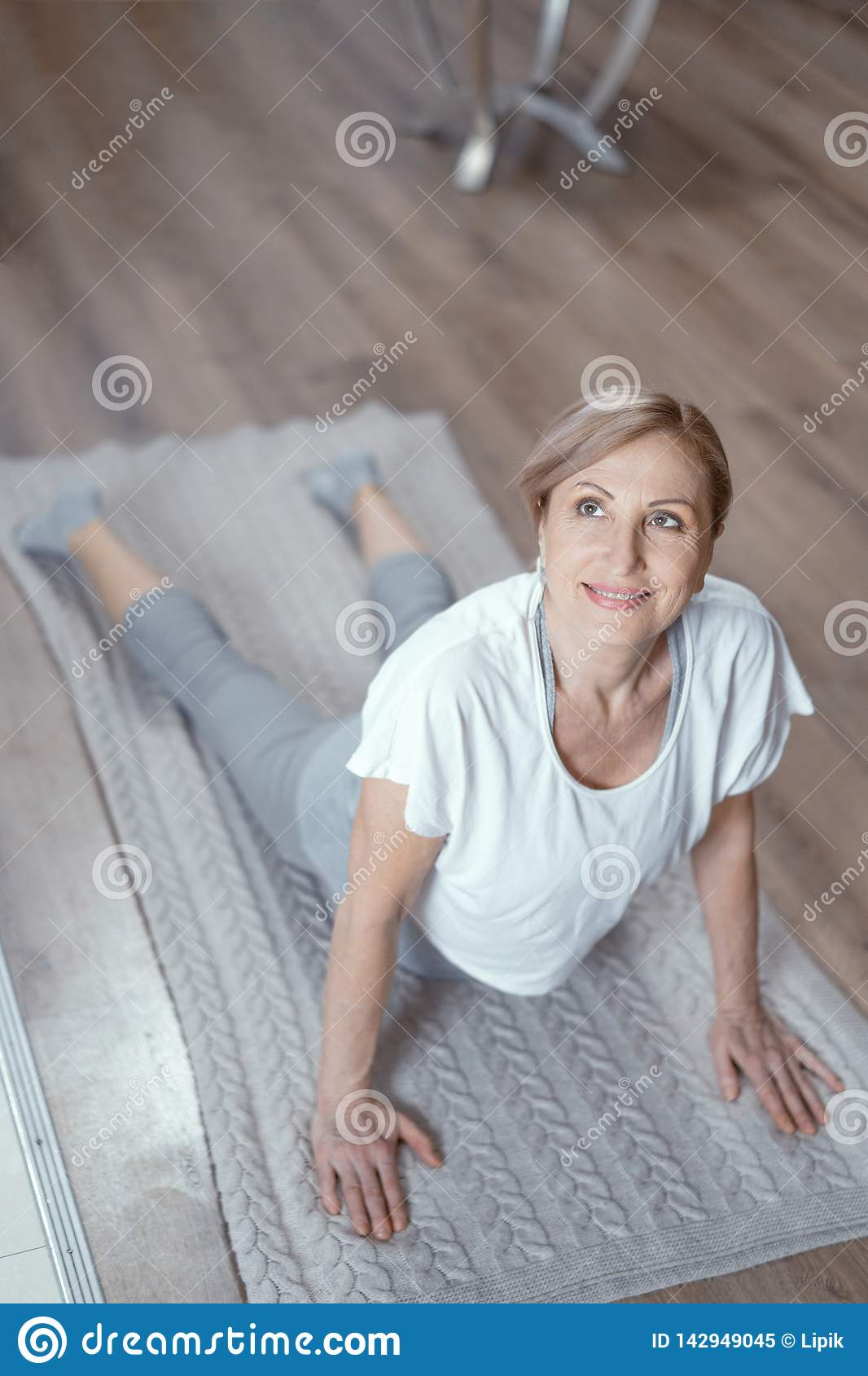Yoga Classes At Home Beautiful Women Over 50 Years Stock Image Image Of Practice Interior 142949045