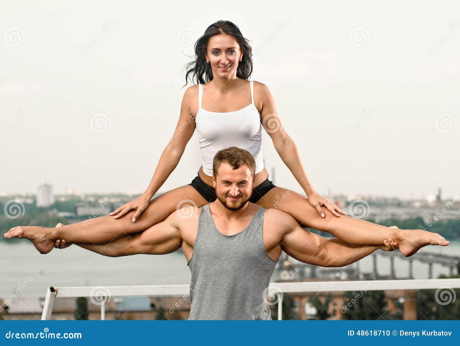 Yoga Couple Stock Photo Image Of Outdoor Pose City