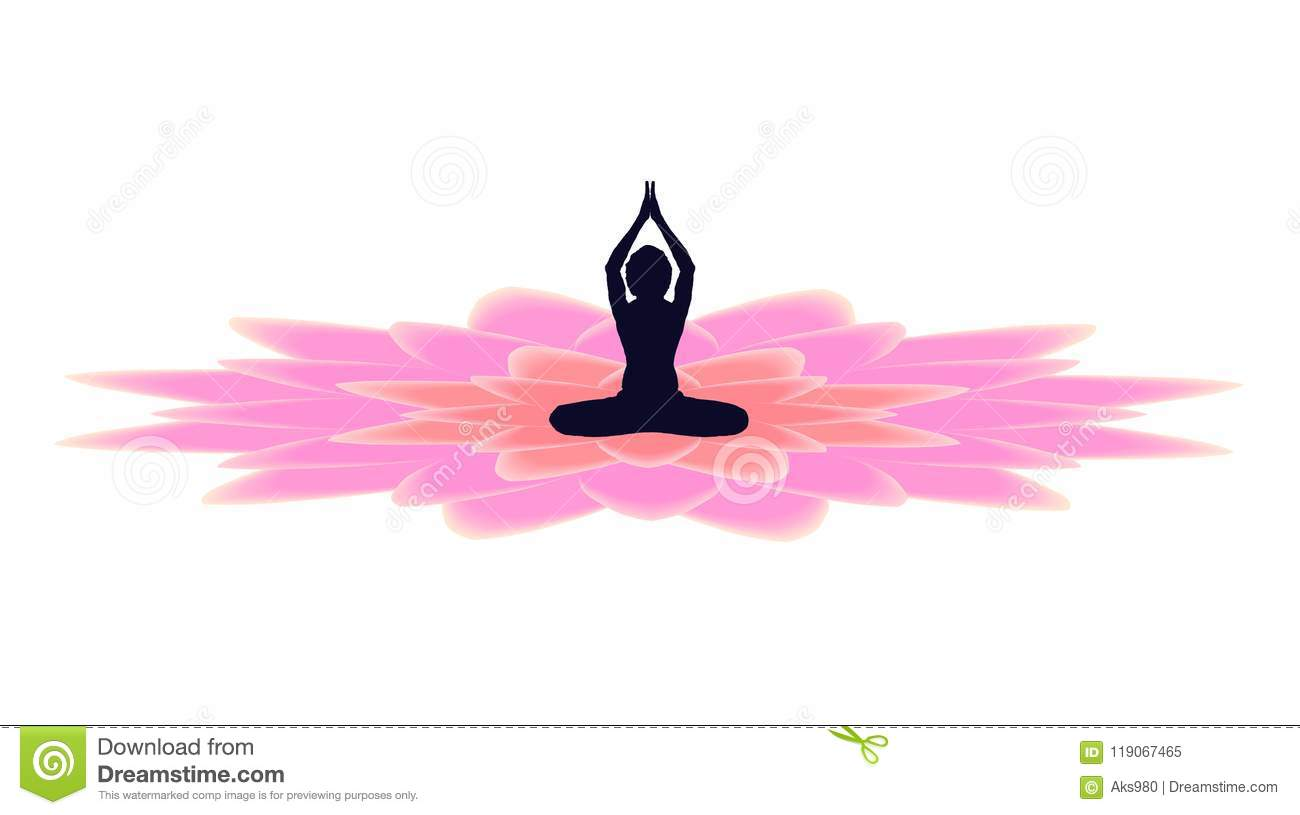 Yoga Day Banner With Dark Yogi On Beautiful Gradient Full Pink Lotus Petals On White Background Vector Design Stock Vector Illustration Of Card Budhism 119067465