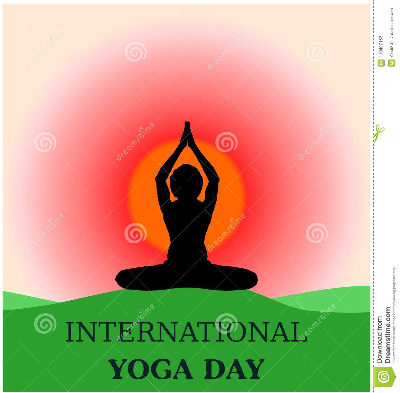 Yoga Day Beautiful Background Banner Parvastasna On Green Ground Morning Sunrise Silhouette Stock Vector Illustration Of Pose Morning 119407163
