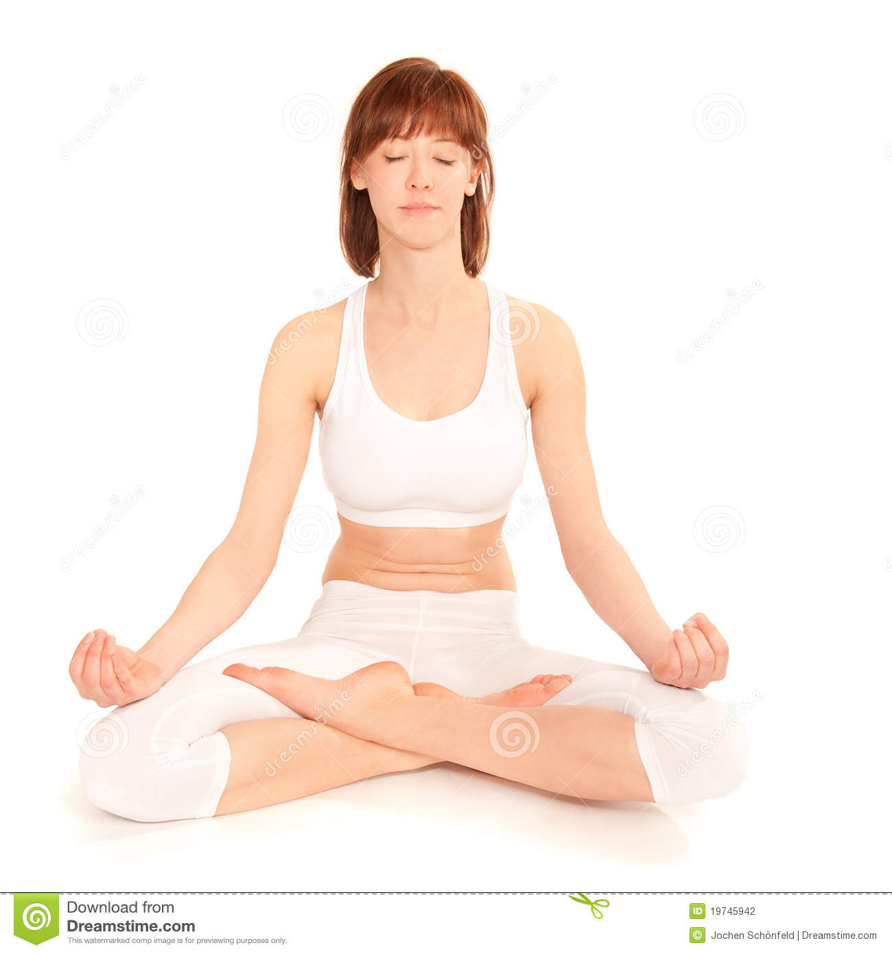 yoga de pratique de jeune femme en position de lotus photo stock image du soutien pattes. Black Bedroom Furniture Sets. Home Design Ideas
