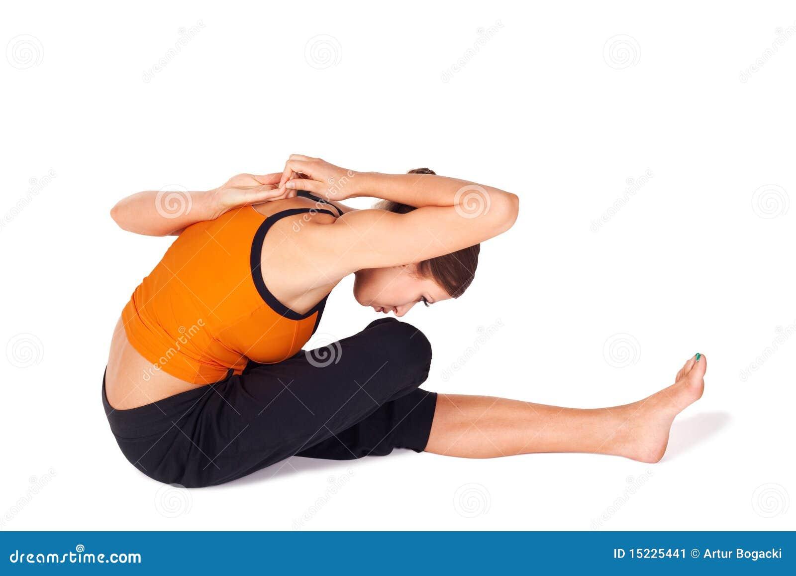 Yoga di pratica della donna adatta che allunga Asana