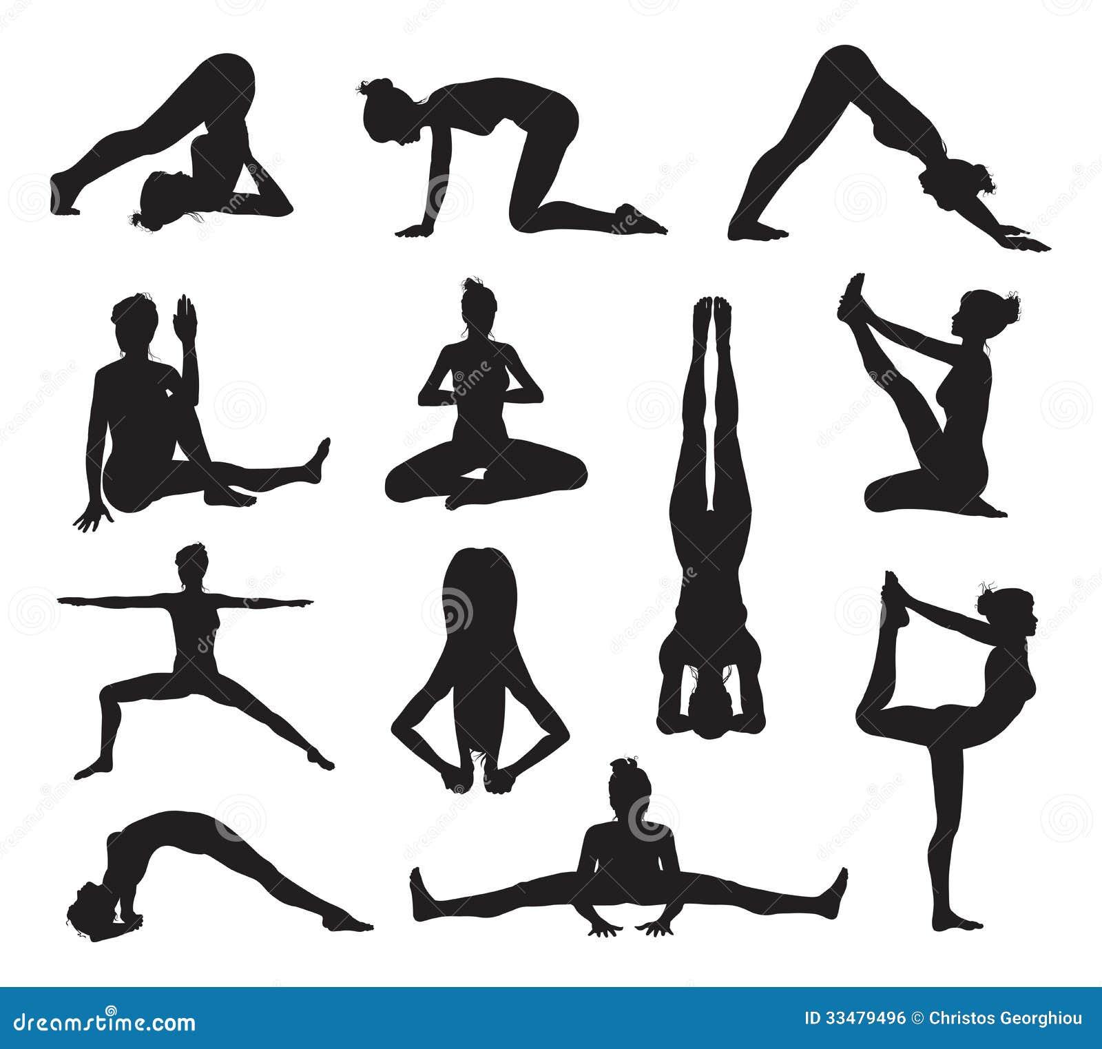 Yoga eller pilates poserar konturer