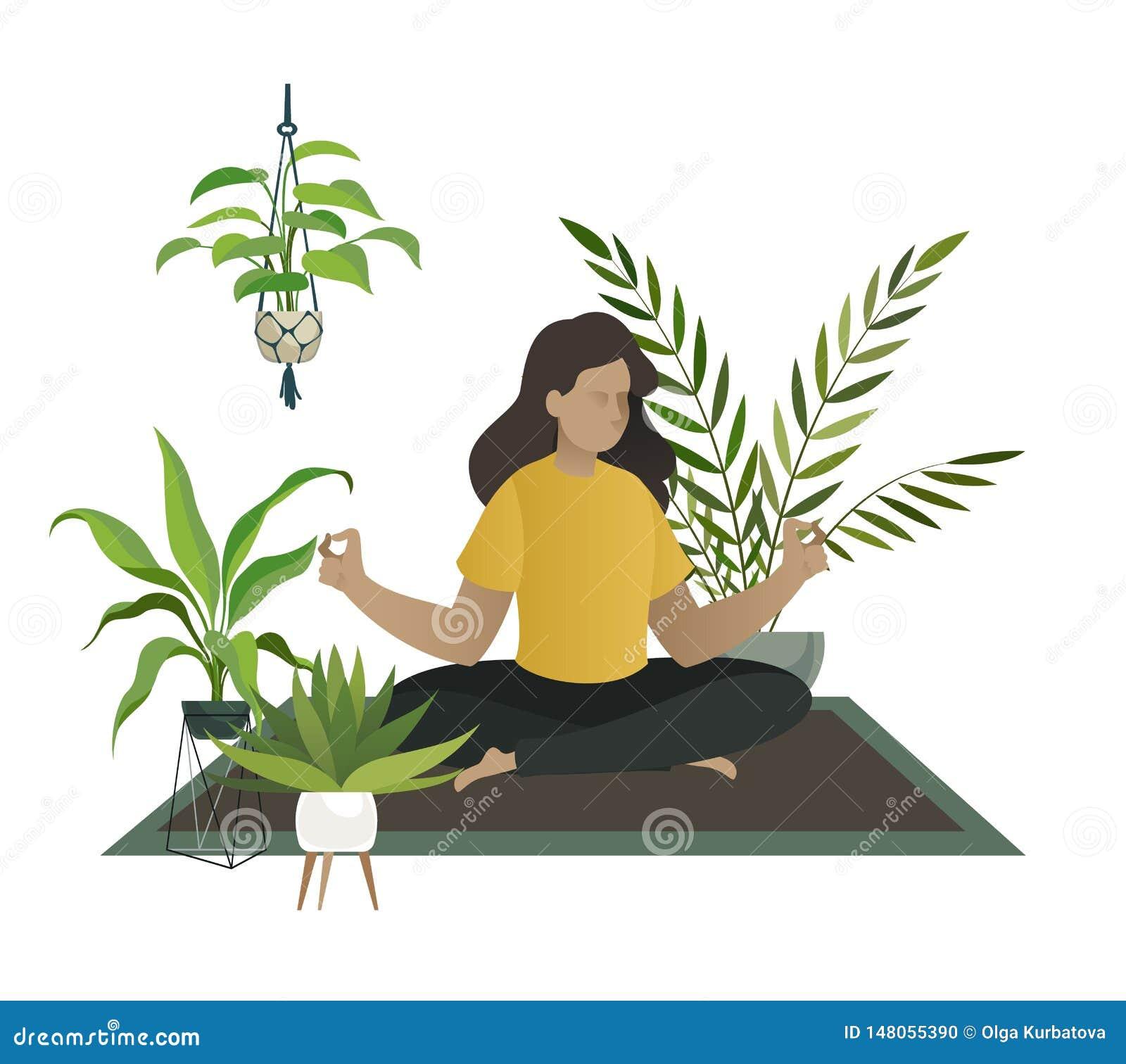Yoga en el pa?s La meditación de la mujer joven o la mamá feliz se relaja en concepto del vector del invernadero del sitio de la