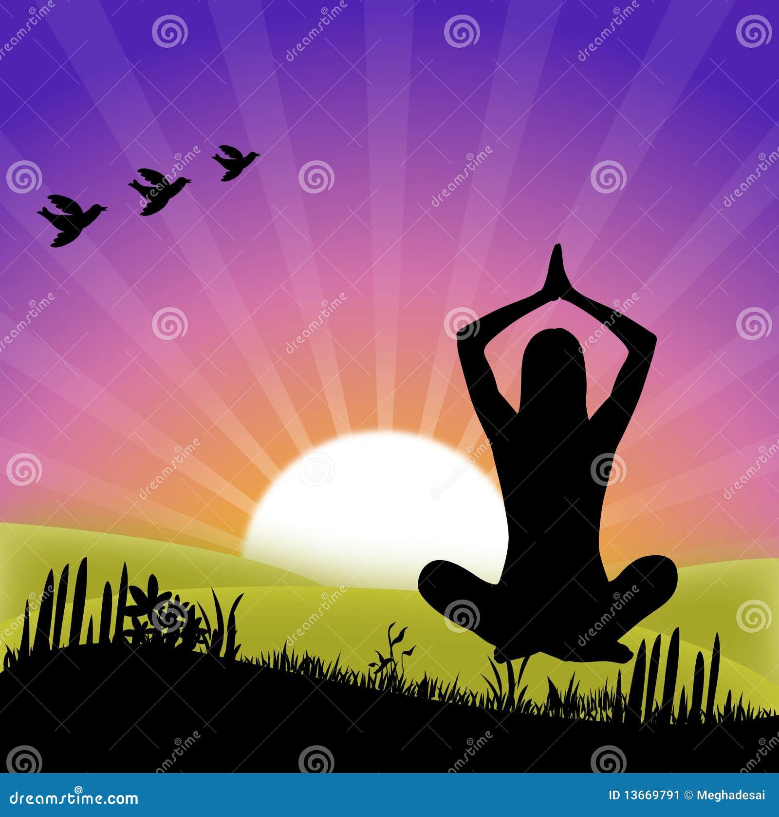 Yoga en la salida del sol