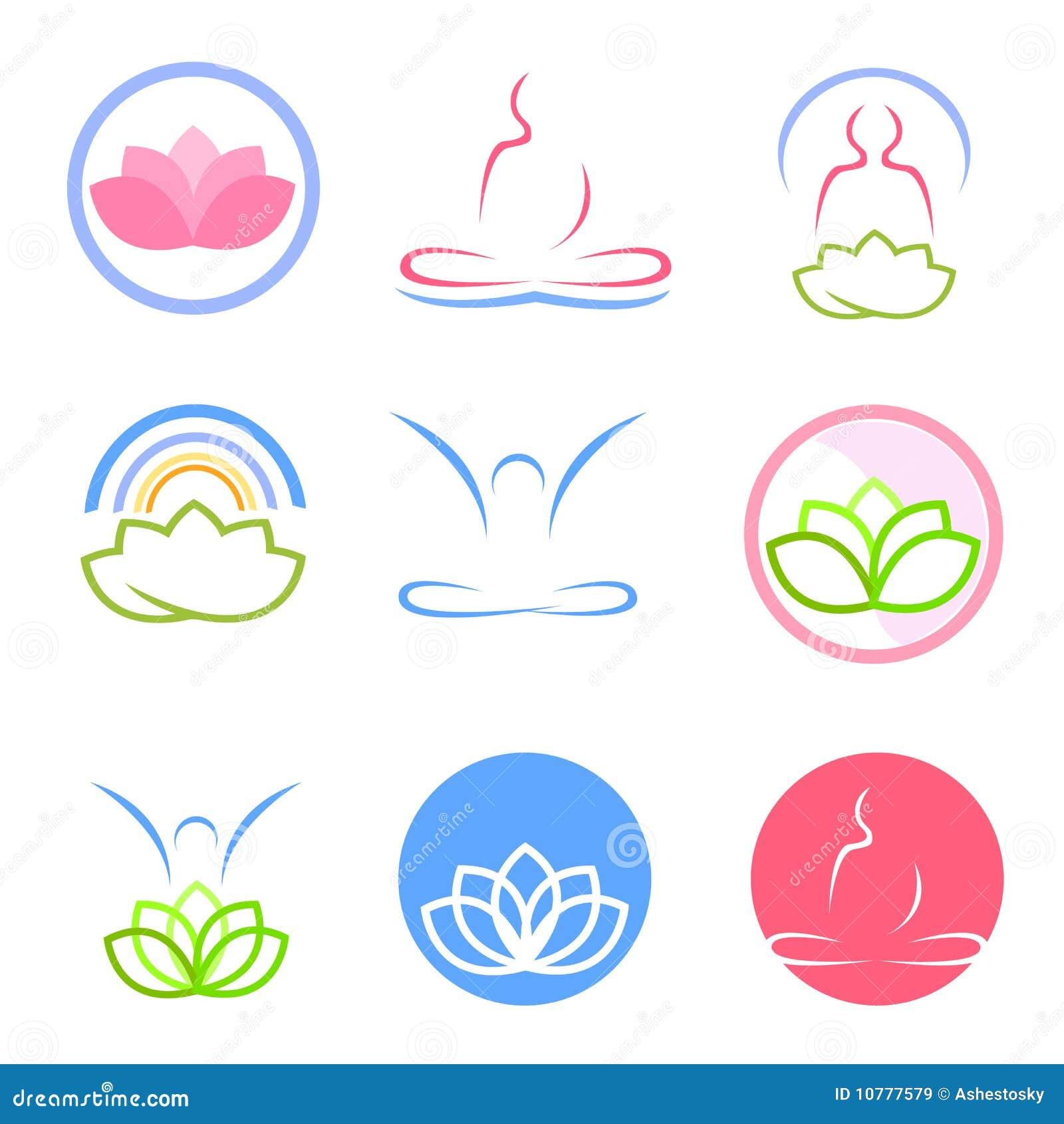 Yoga en zen emblemenvector