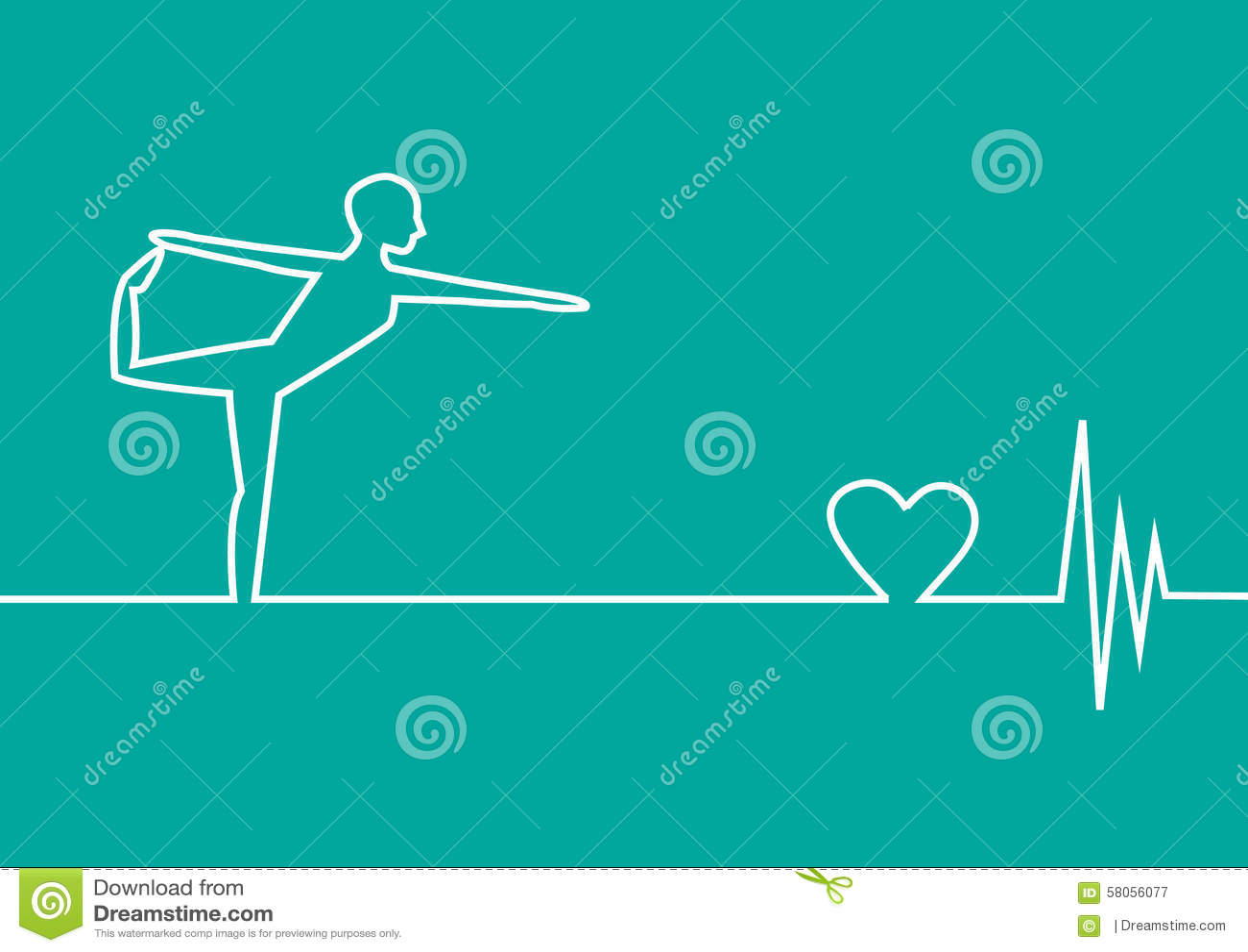 Yoga Exercise With EKG Heart On Green Background Design