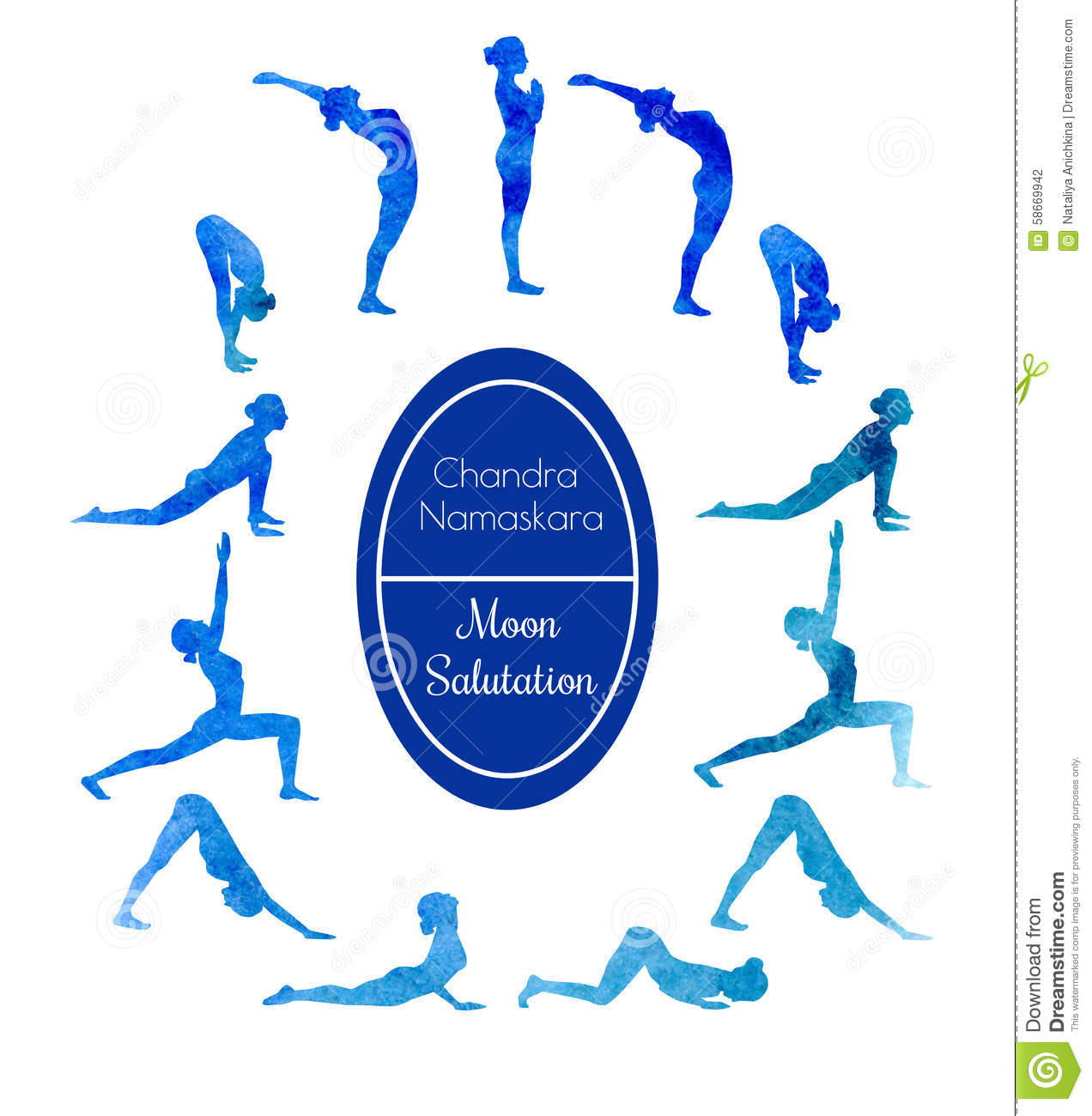 Yoga Exercise Moon Salutation Stock Illustration