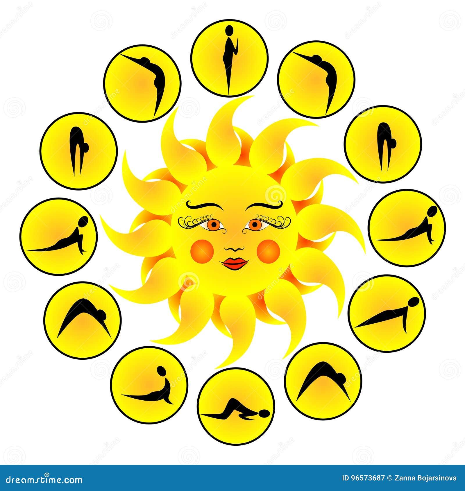 Yoga Exercises Sun Salutation Surya Namaskara Cartoon Vector Cartoondealer Com 96573687