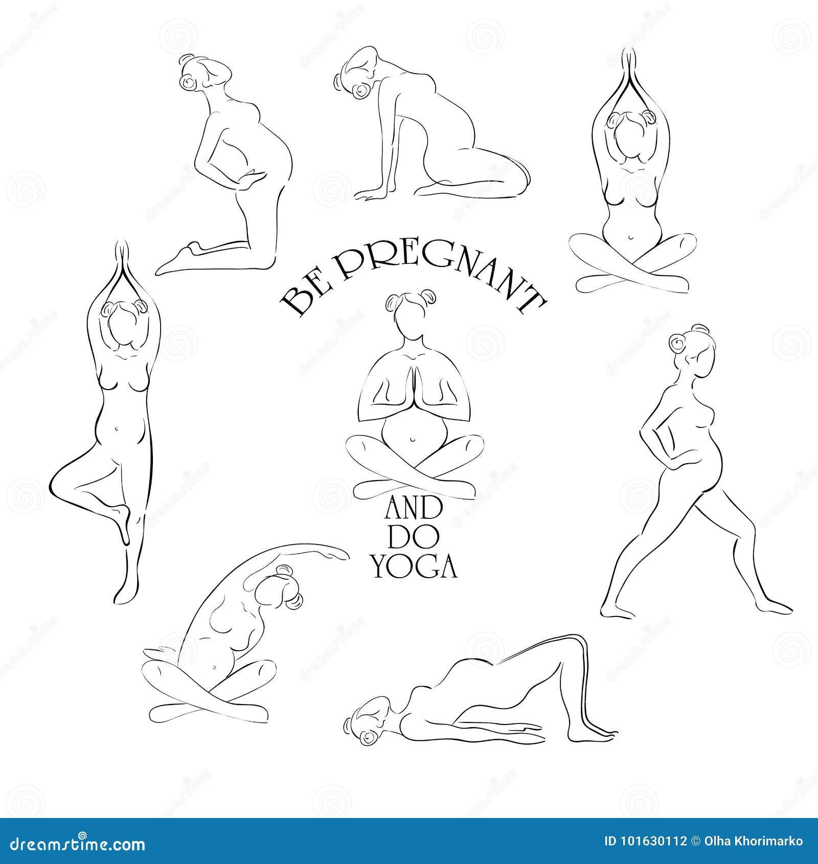 Yoga för gravid vektoruppsättning
