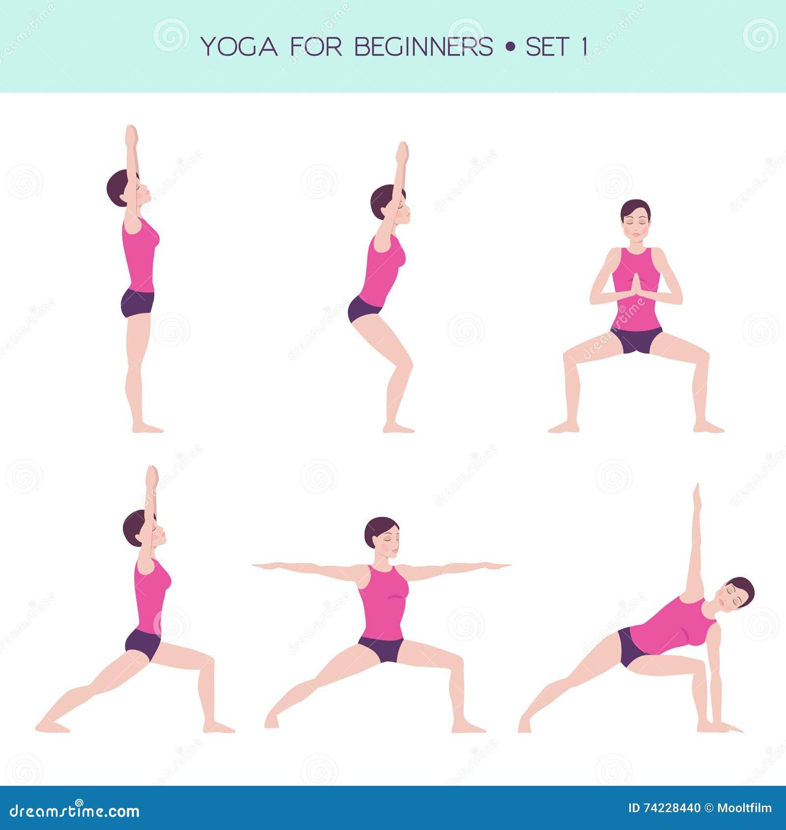 Yoga För Grundläggande Uppsättning För Nybörjare Vektor ...