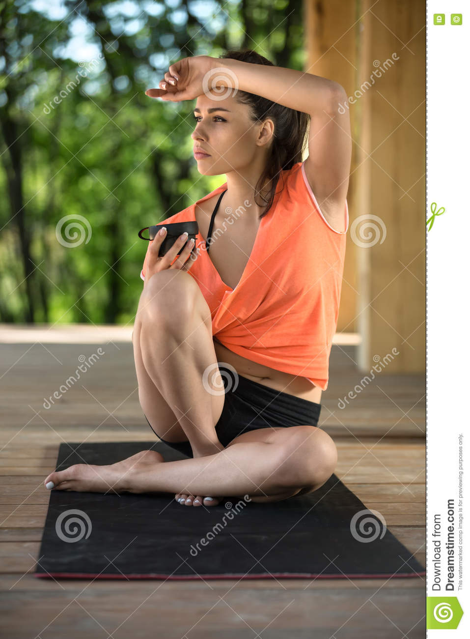 Yoga girl with cup stock image. Image of cute, yoga ...