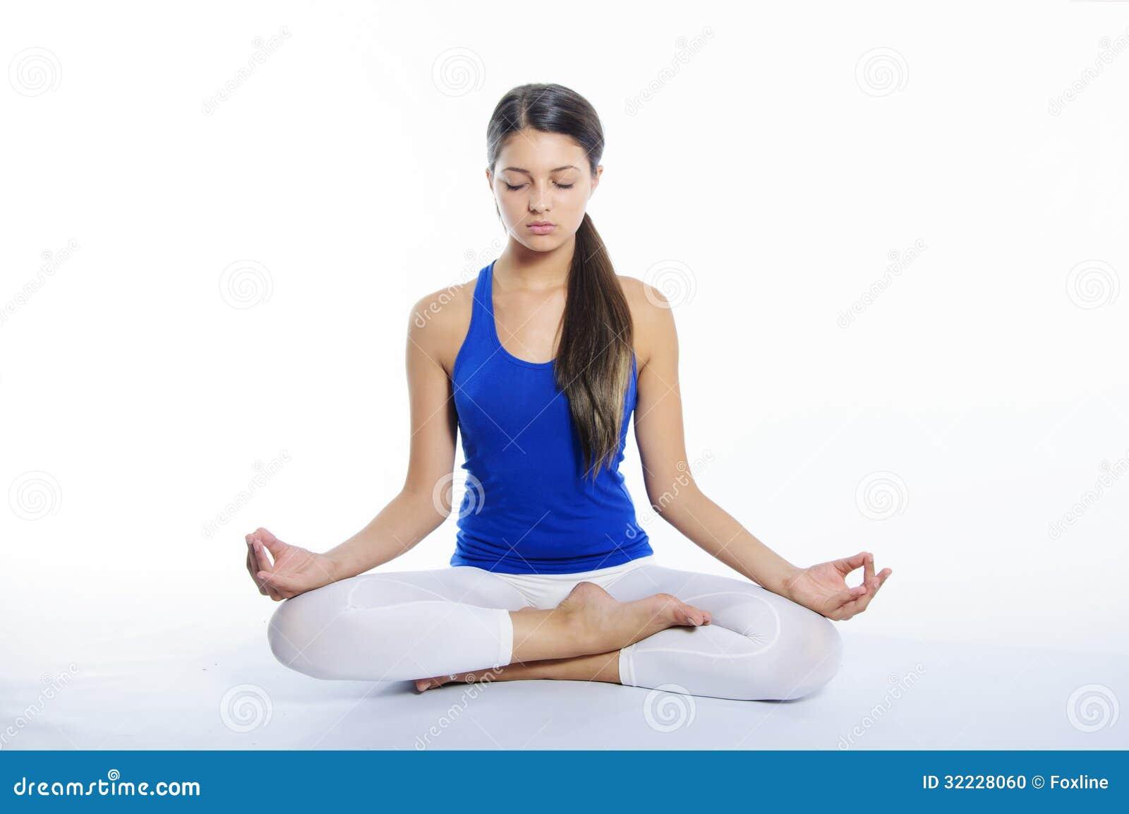 Yoga Girl On A White Background Stock Photo - Image: 32228060