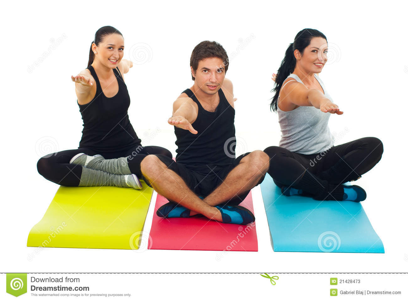 yoga group of three people stock image image of mats 21428473