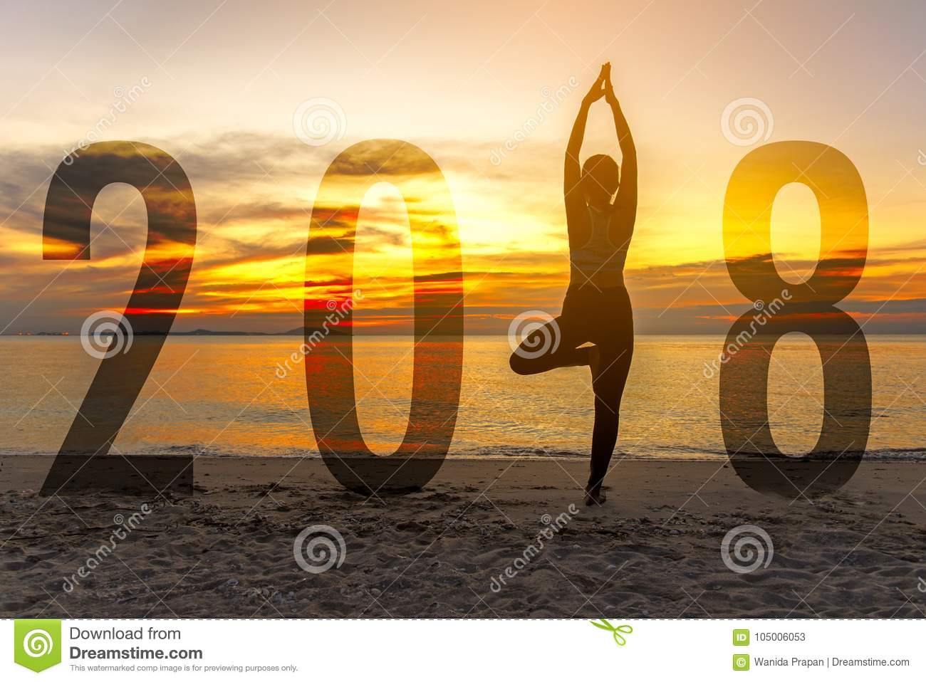 Yoga Happy new year card 2018. Silhouette woman practicing yoga standing as part of Number 2018