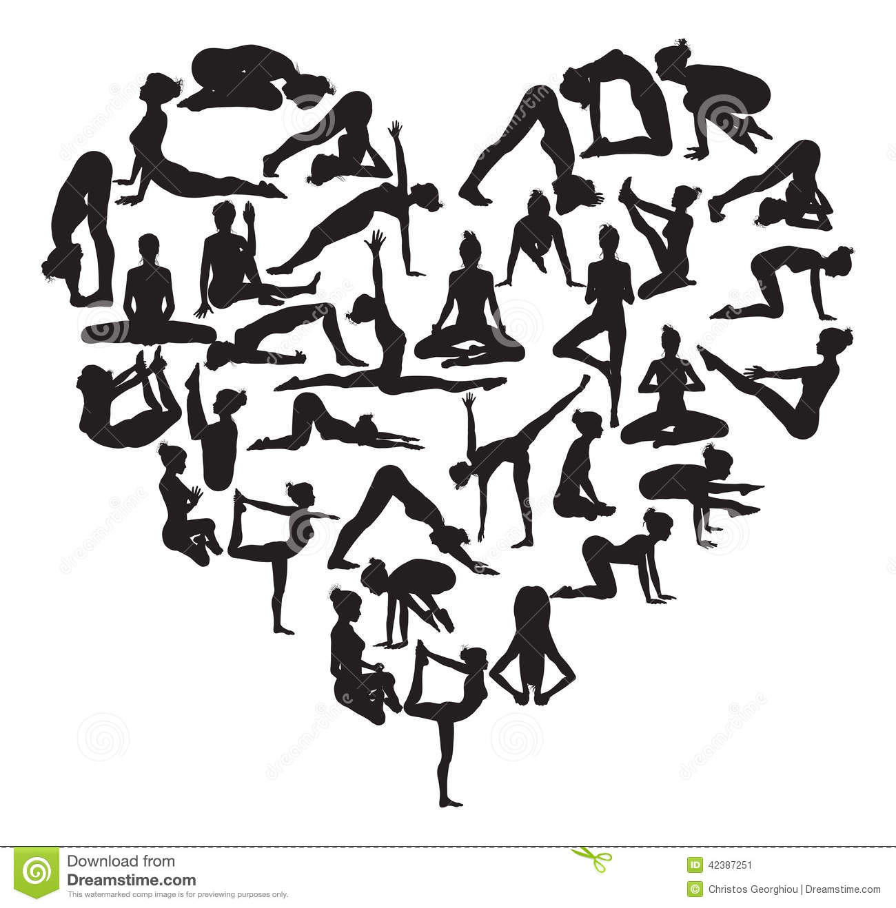 Yoga Heart Stock Vector Image 42387251