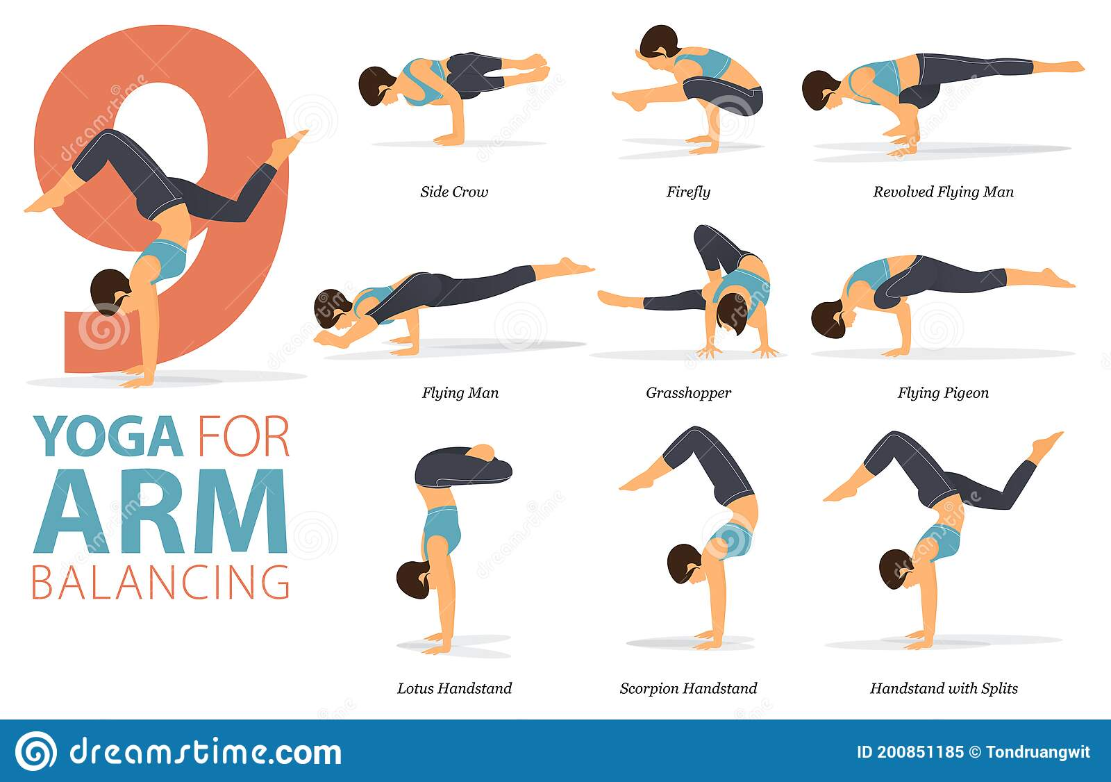 50 Yoga Poses Or Asana Posture For Workout In Arm Balance Concept ...
