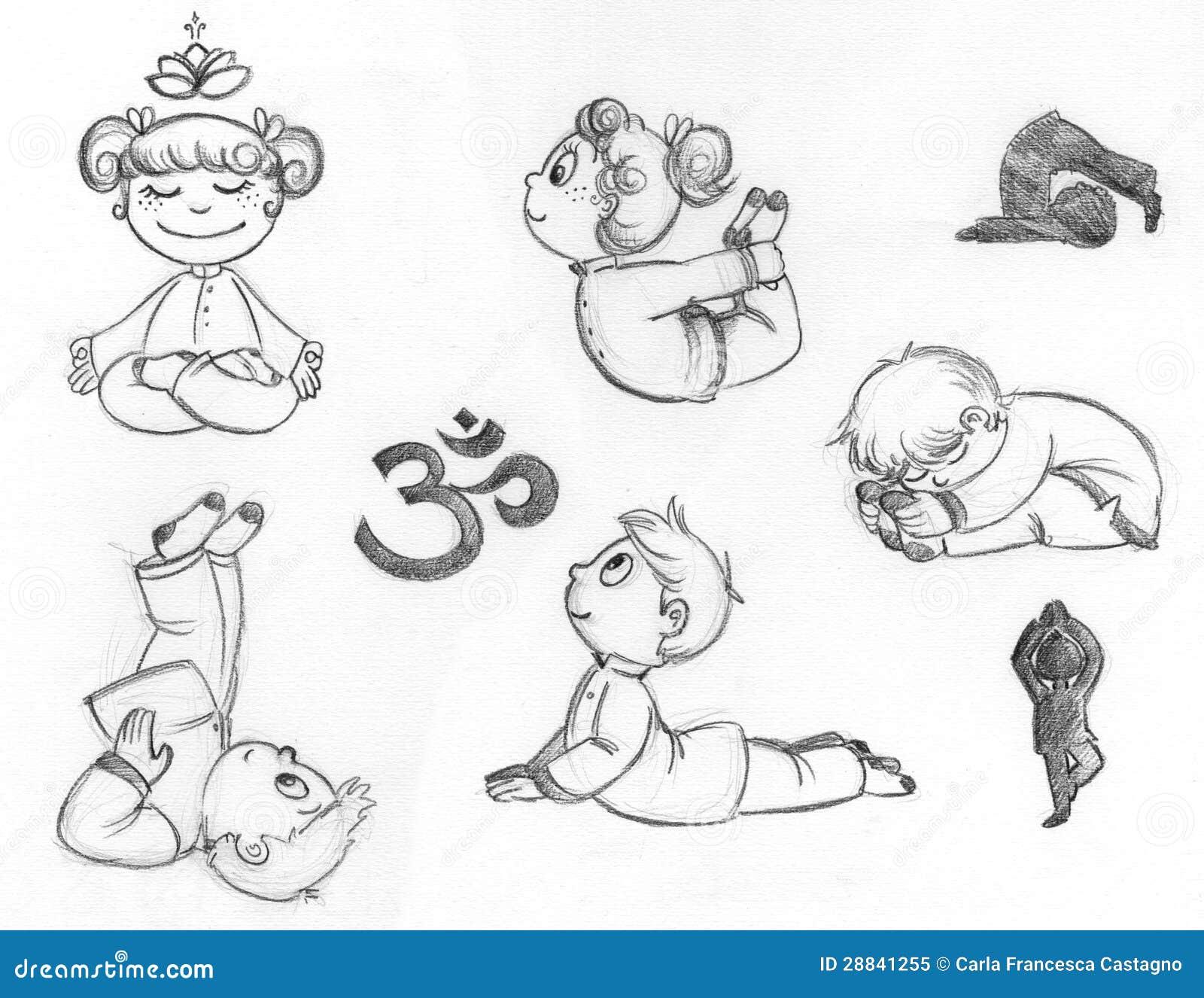 Download Yoga Kids Stock Illustration Of Drawn Boys