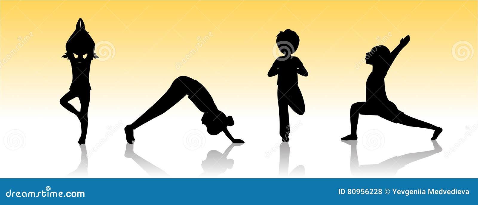 Yoga Kids Asanas Poses Silhouette Stock Vector Illustration Of Children Health 80956228