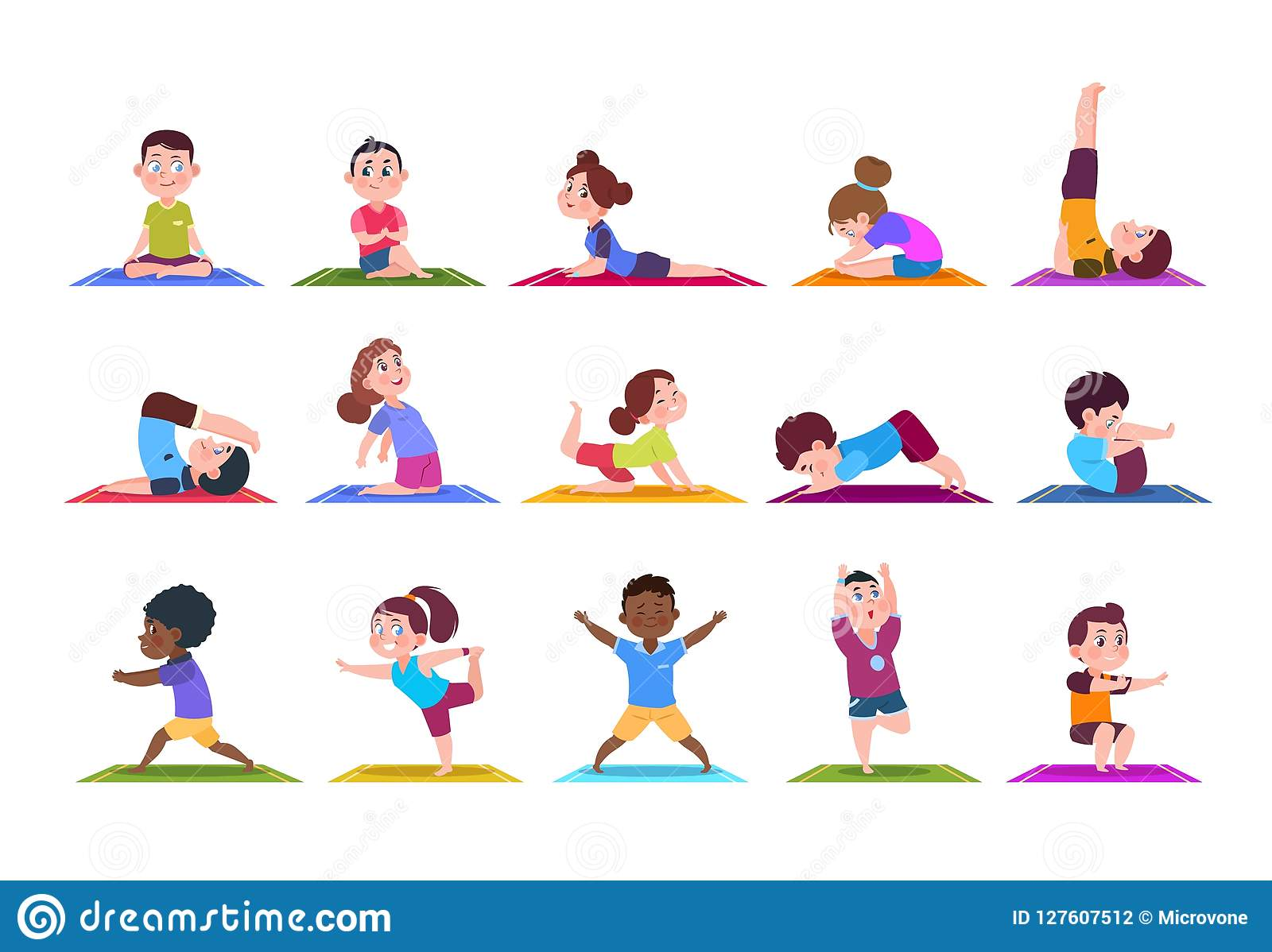 Yoga Kids Cartoon Children Doing Yoga Sporting Girls And Boys In Gym Vector Characters Isolated Set Stock Vector Illustration Of Character Asana 127607512